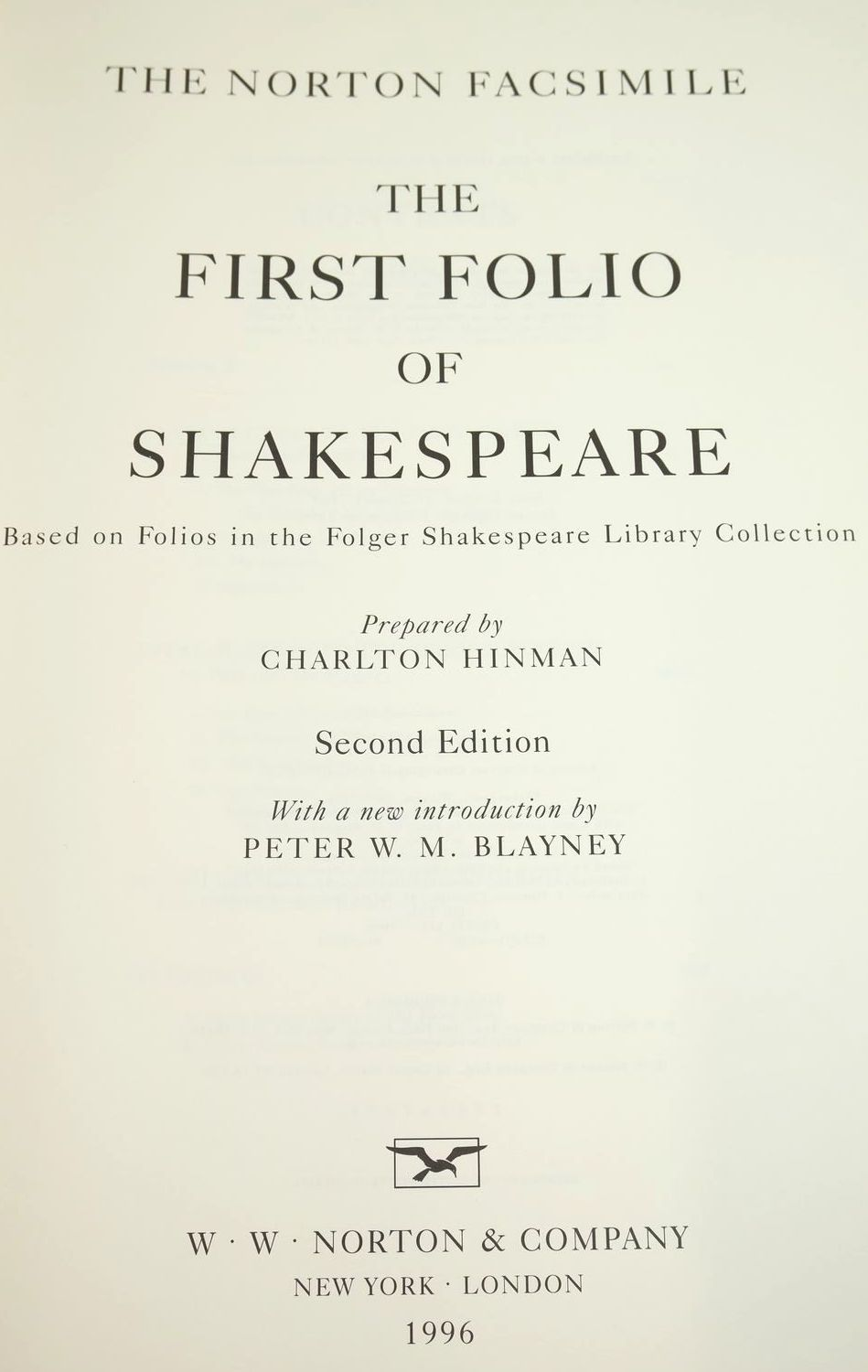 Photo of THE FIRST FOLIO OF SHAKESPEARE written by Shakespeare, William published by W.W. Norton & Company Inc. (STOCK CODE: 1321038)  for sale by Stella & Rose's Books