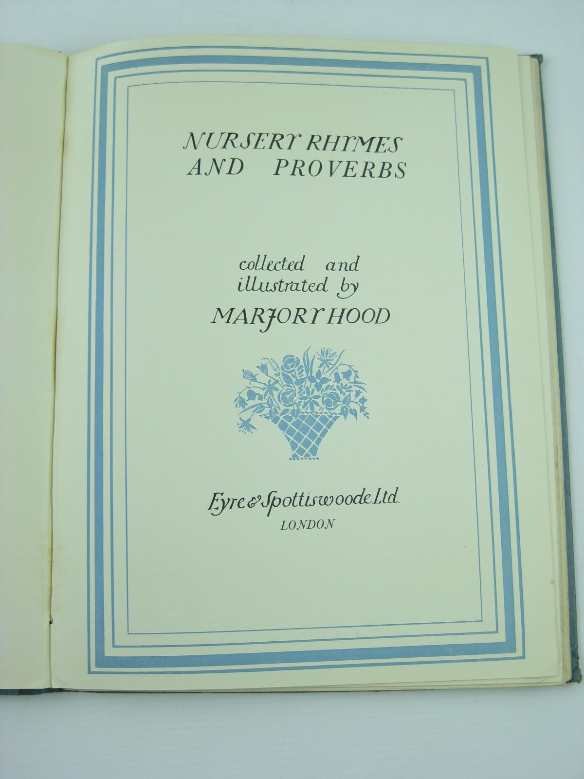 Photo of NURSERY RHYMES AND PROVERBS written by Hood, Marjory illustrated by Hood, Marjory published by Eyre & Spottiswoode Limited (STOCK CODE: 1401769)  for sale by Stella & Rose's Books