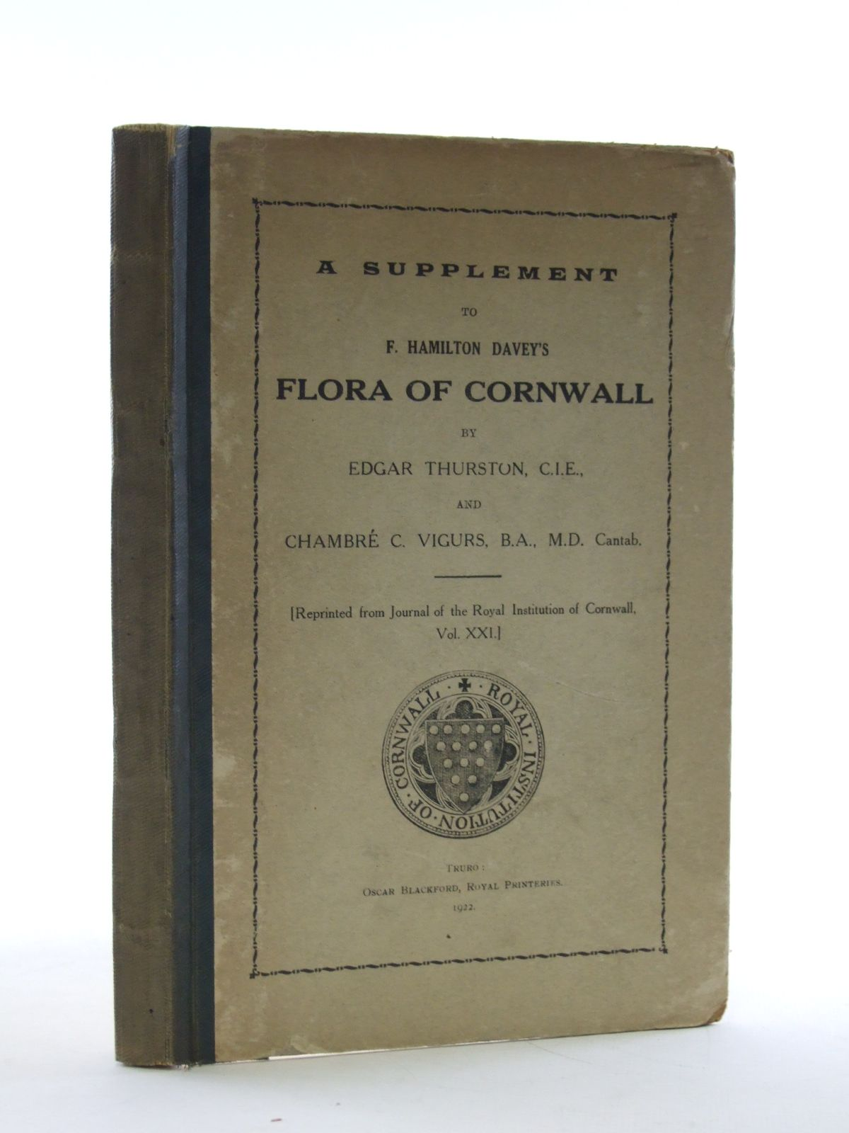 Photo of A SUPPLEMENT TO F. HAMILTON DAVEY'S FLORA OF CORNWALL written by Thurston, E. published by Royal Institution Of Cornwall (STOCK CODE: 1603666)  for sale by Stella & Rose's Books