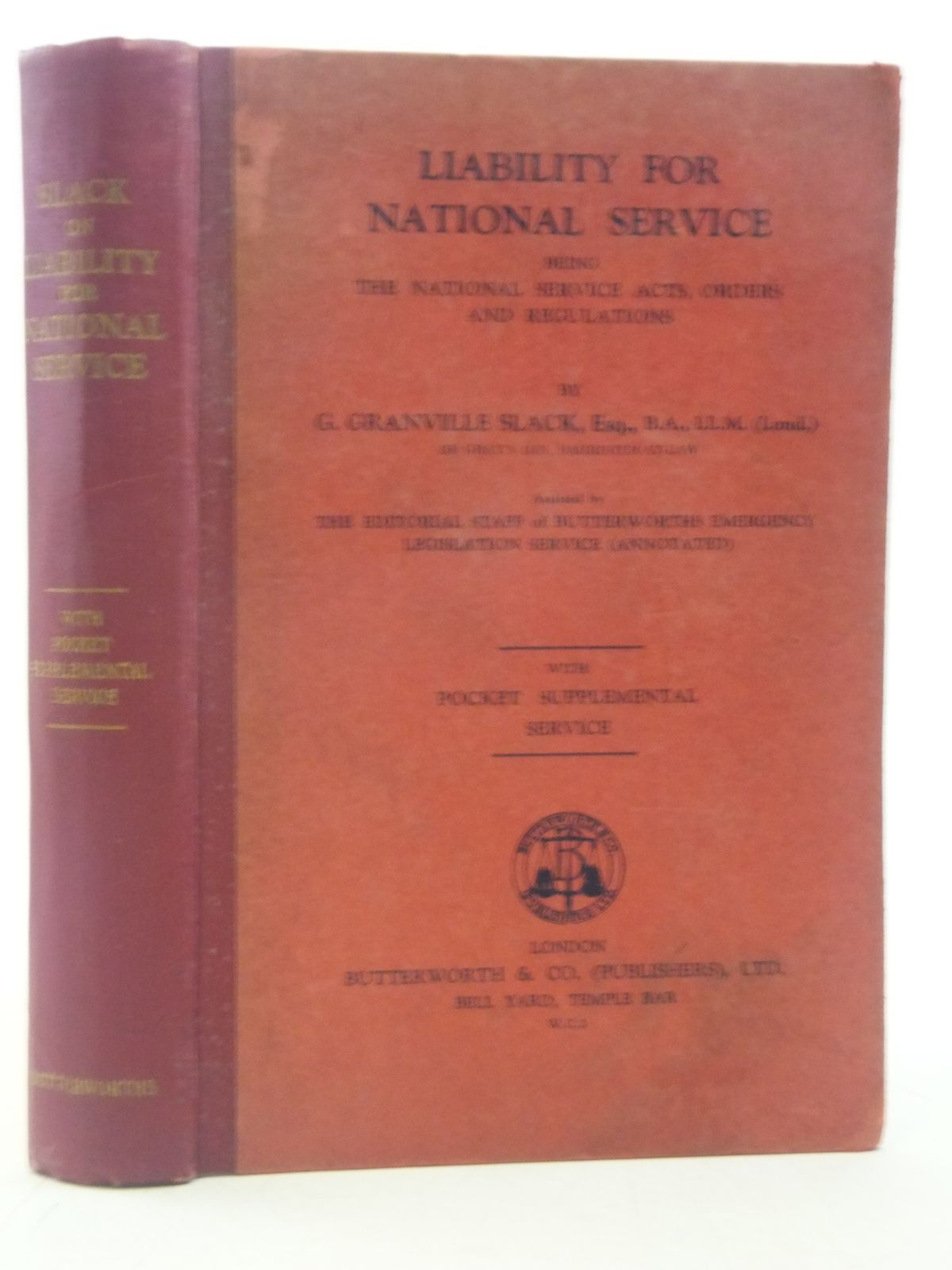 Photo of LIABILITY FOR NATIONAL SERVICE written by Slack, G. Granville published by Butterworth & Co. (publishers) Ltd (STOCK CODE: 1605937)  for sale by Stella & Rose's Books