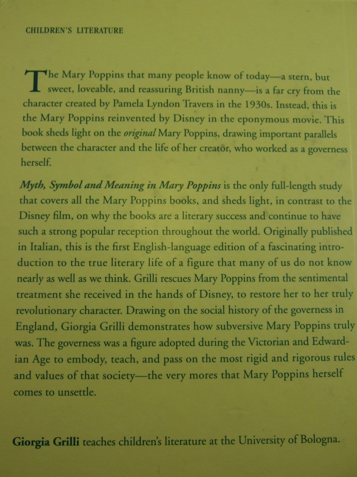 Photo of MYTH, SYMBOL AND MEANING IN MARY POPPINS THE GOVERNESS AS PROVOCATEUR written by Grilli, Giorgia published by Routledge (STOCK CODE: 1707357)  for sale by Stella & Rose's Books
