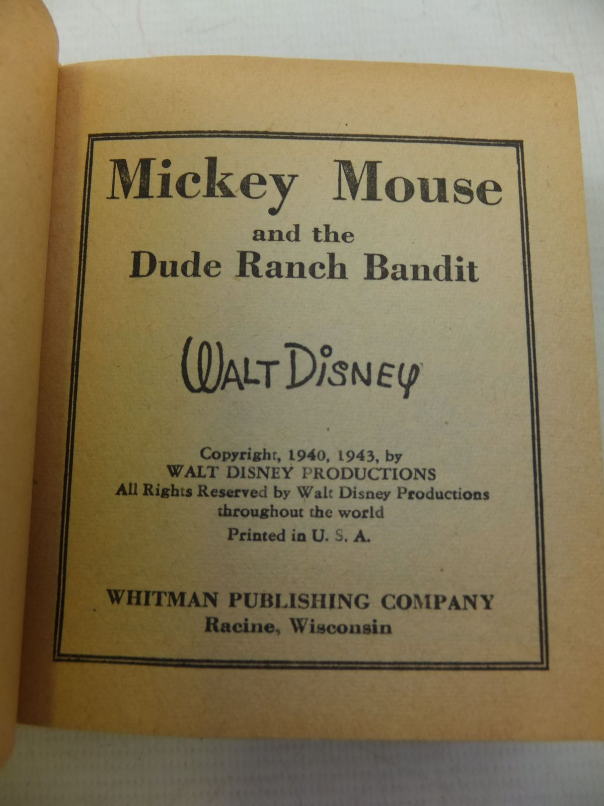 Photo of MICKEY MOUSE AND THE DUDE RANCH BANDIT written by Disney, Walt illustrated by Disney, Walt published by Whitman Publishing Company (STOCK CODE: 1710336)  for sale by Stella & Rose's Books