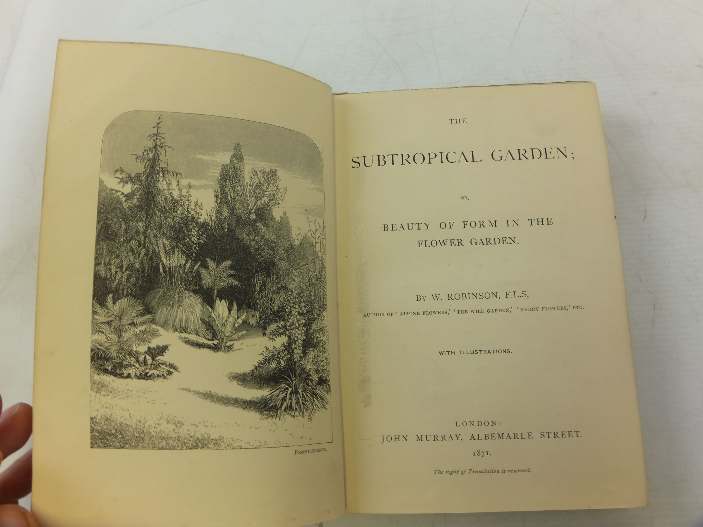Photo of THE SUBTROPICAL GARDEN OR BEAUTY OF FORM IN THE FLOWER GARDEN written by Robinson, W. published by John Murray (STOCK CODE: 1711749)  for sale by Stella & Rose's Books