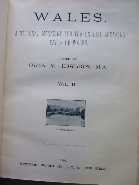 Photo of WALES A NATIONAL MAGAZINE FOR THE ENGLISH SPEAKING PARTS OF WALES VOL II written by Edwards, Owen M. published by Hughes & Son (STOCK CODE: 1803709)  for sale by Stella & Rose's Books