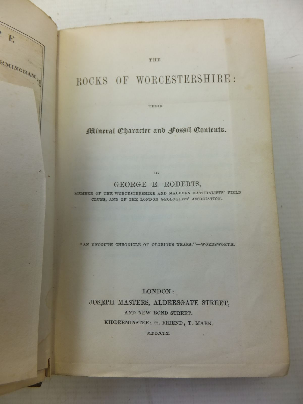 Photo of THE ROCKS OF WORCESTERSHIRE: THEIR MINERAL CHARACTER AND FOSSIL CONTENTS written by Roberts, George E. published by Joseph Masters (STOCK CODE: 1809249)  for sale by Stella & Rose's Books