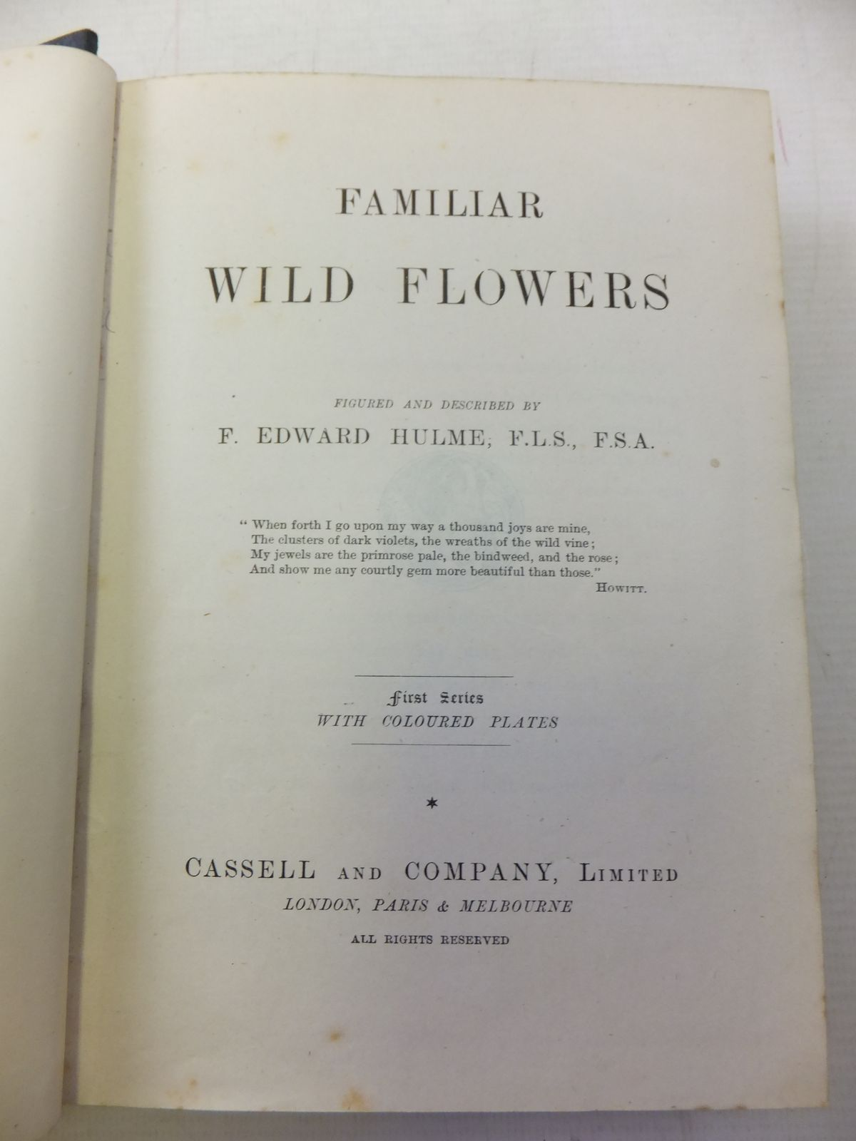 Photo of FAMILIAR WILD FLOWERS written by Hulme, F. Edward illustrated by Hulme, F. Edward published by Cassell & Company Limited (STOCK CODE: 1809252)  for sale by Stella & Rose's Books