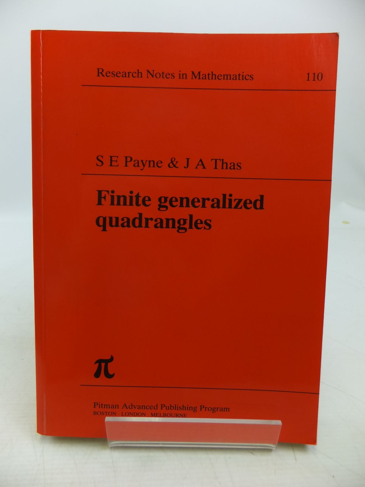 Photo of FINITE GENERALIZED QUADRANGLES written by Payne, S.E.<br />Thas, J.A. published by Pitman (STOCK CODE: 1811359)  for sale by Stella & Rose's Books