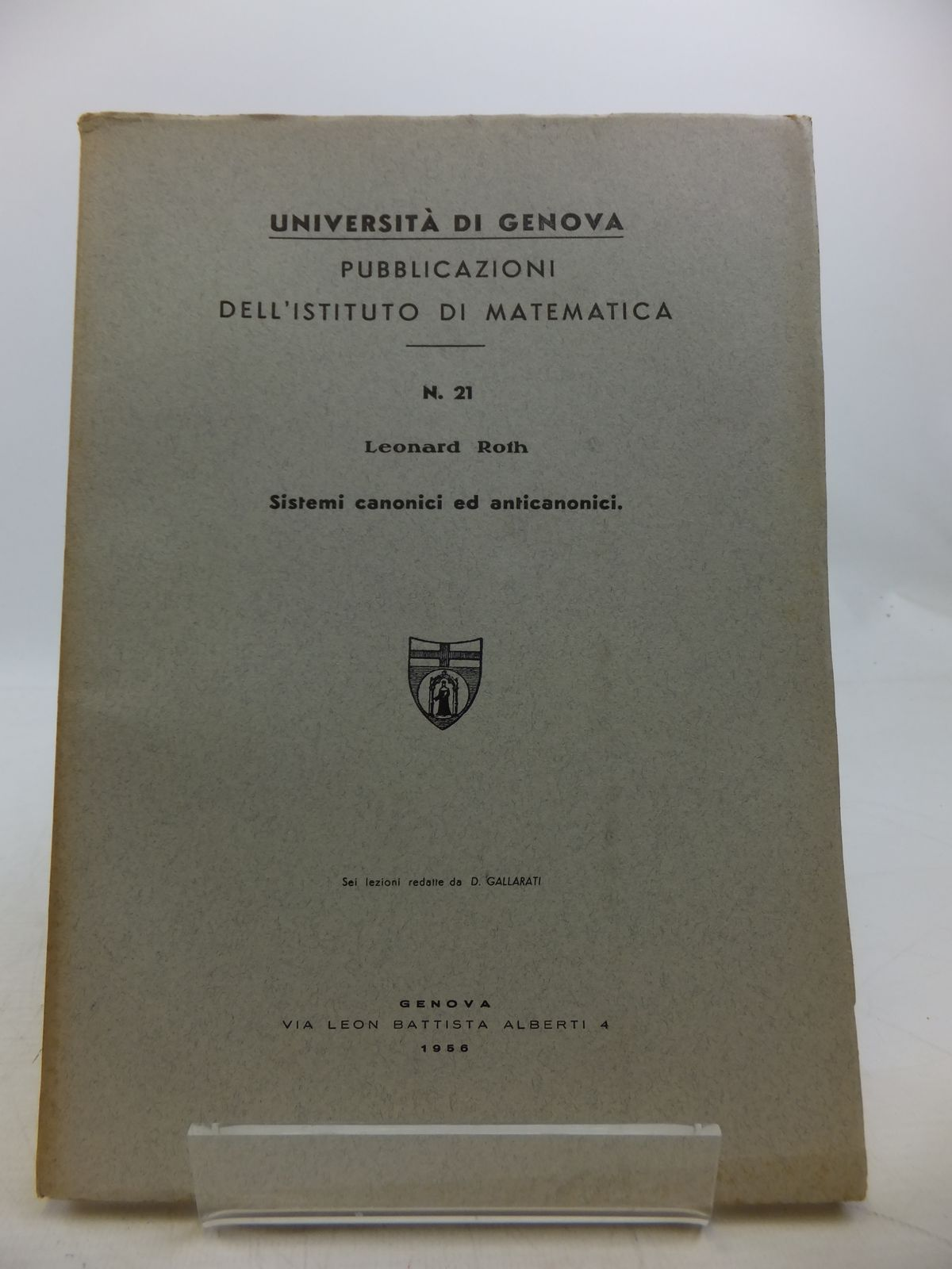 Photo of SISTEMI CANONICI ED ANTICANONICI written by Roth, Leonard published by Edizioni Scientifiche Genova (STOCK CODE: 1811828)  for sale by Stella & Rose's Books