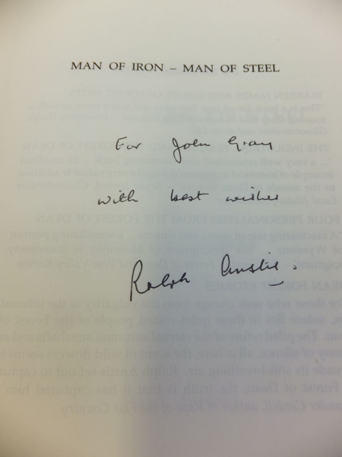 Photo of MAN OF IRON - MAN OF STEEL written by Anstis, Ralph published by Albion House (STOCK CODE: 1811912)  for sale by Stella & Rose's Books