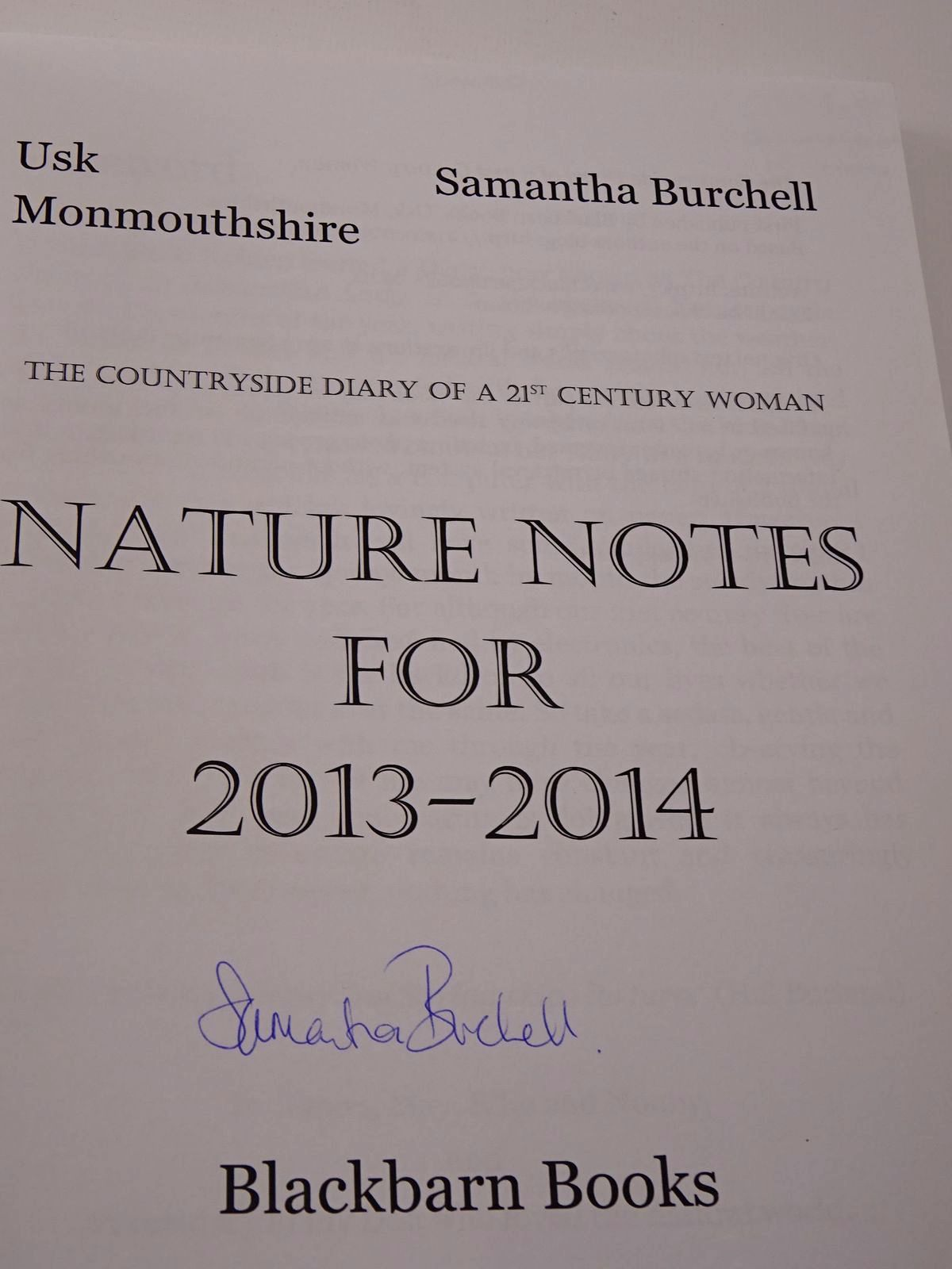 Photo of THE COUNTRYSIDE DIARY OF A 21ST CENTURY WOMAN: NATURE NOTES FOR 2013-2014 written by Burchell, Samantha illustrated by Burchell, Samantha published by Blackbarn Books (STOCK CODE: 1817384)  for sale by Stella & Rose's Books