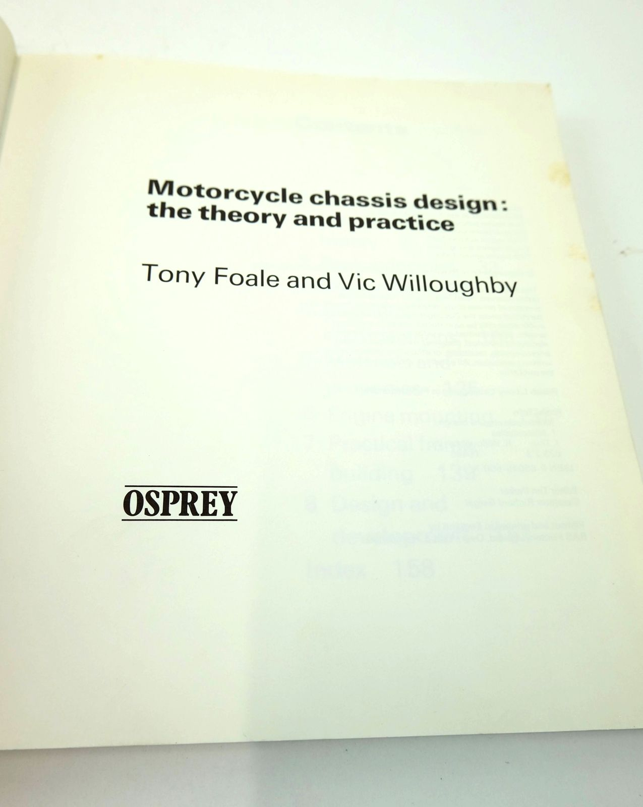 Photo of MOTORCYCLE CHASSIS DESIGN: THE THEORY AND PRACTICE written by Foale, Tony Willoughby, Vic published by Osprey Publishing (STOCK CODE: 1818815)  for sale by Stella & Rose's Books