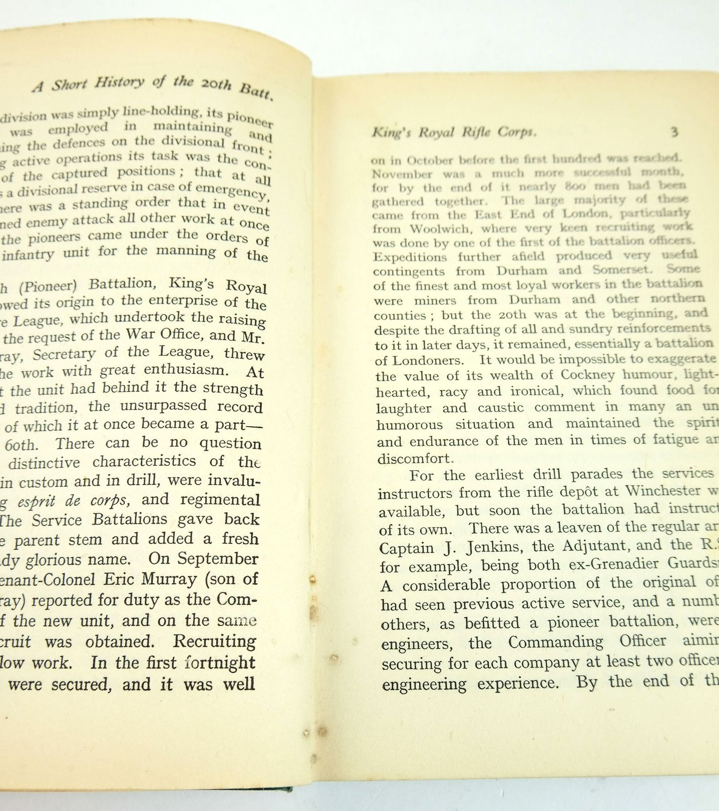 Photo of A SHORT HISTORY OF THE 20TH BATTALION KING'S ROYAL RIFLE CORPS (B.E.L. PIONEERS) 1915-1919 written by Turberville, A.S. published by Goddard, Walker & Brown, Ltd. (STOCK CODE: 1819230)  for sale by Stella & Rose's Books