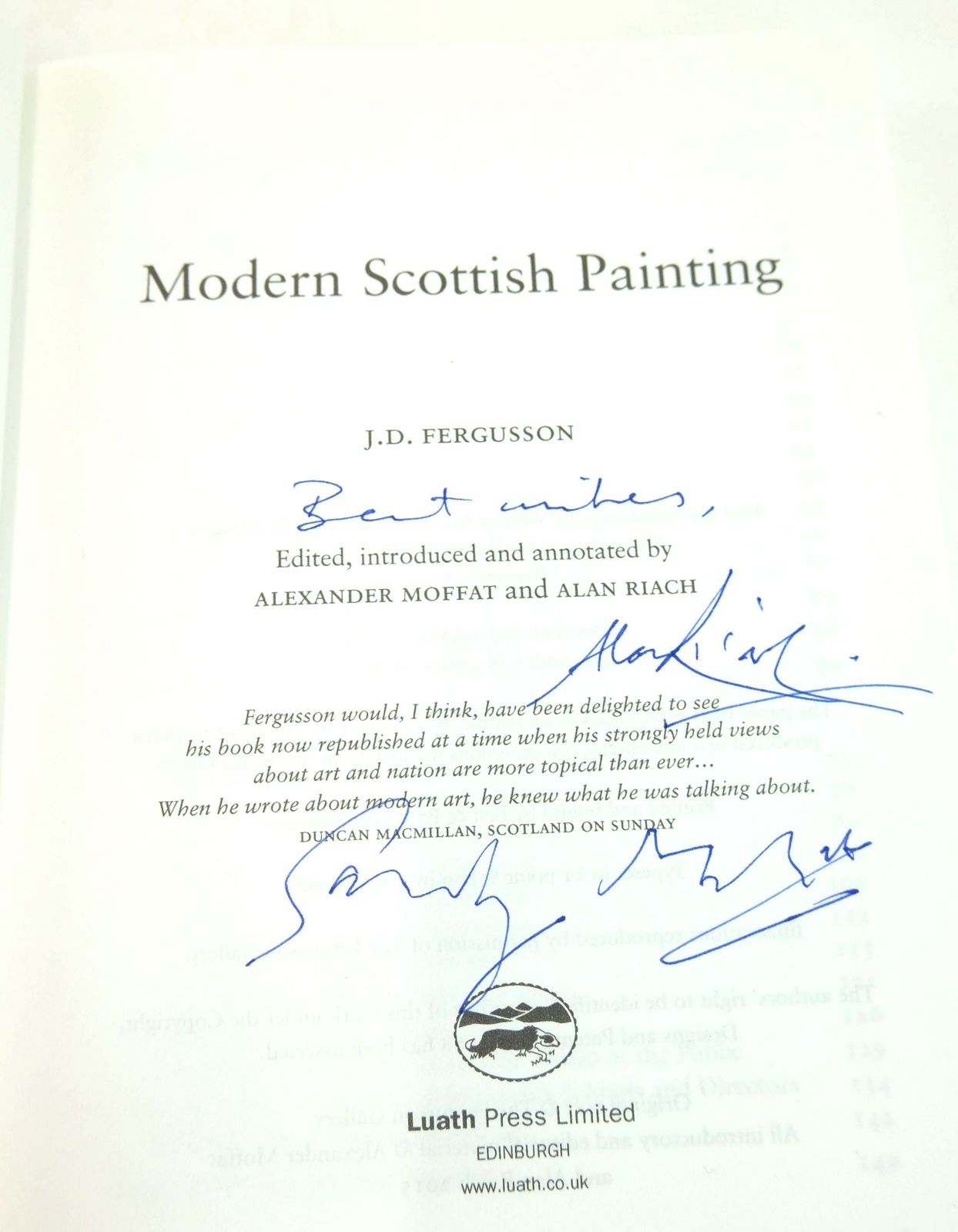 Photo of MODERN SCOTTISH PAINTING written by Fergusson, J.D. Moffat, Alexander Riach, Alan illustrated by Fergusson, J.D. published by Luath Press Ltd. (STOCK CODE: 1819308)  for sale by Stella & Rose's Books