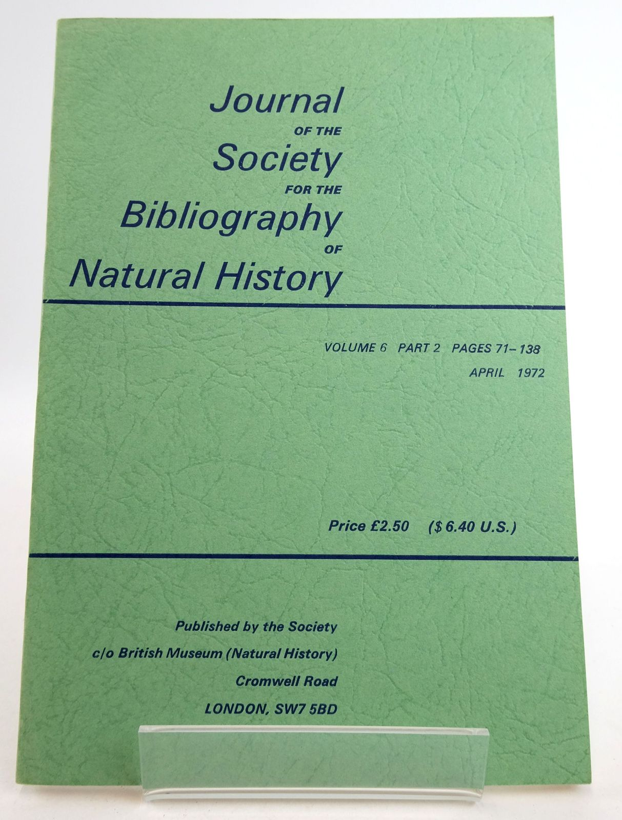 Photo of JOURNAL OF THE SOCIETY FOR THE BIBLIOGRAPHY OF NATURAL HISTORY VOLUME 6 PART 2- Stock Number: 1819472