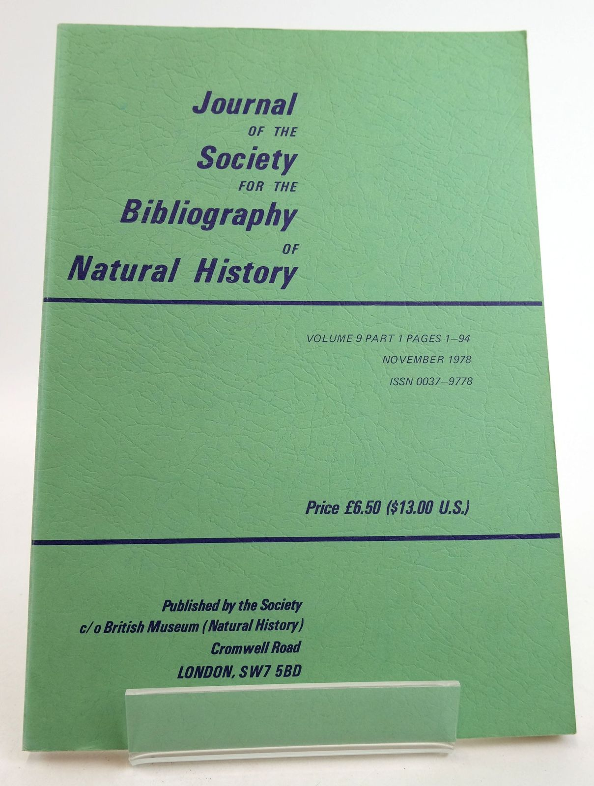 Photo of JOURNAL OF THE SOCIETY FOR THE BIBLIOGRAPHY OF NATURAL HISTORY VOLUME 9 PART 1- Stock Number: 1819474