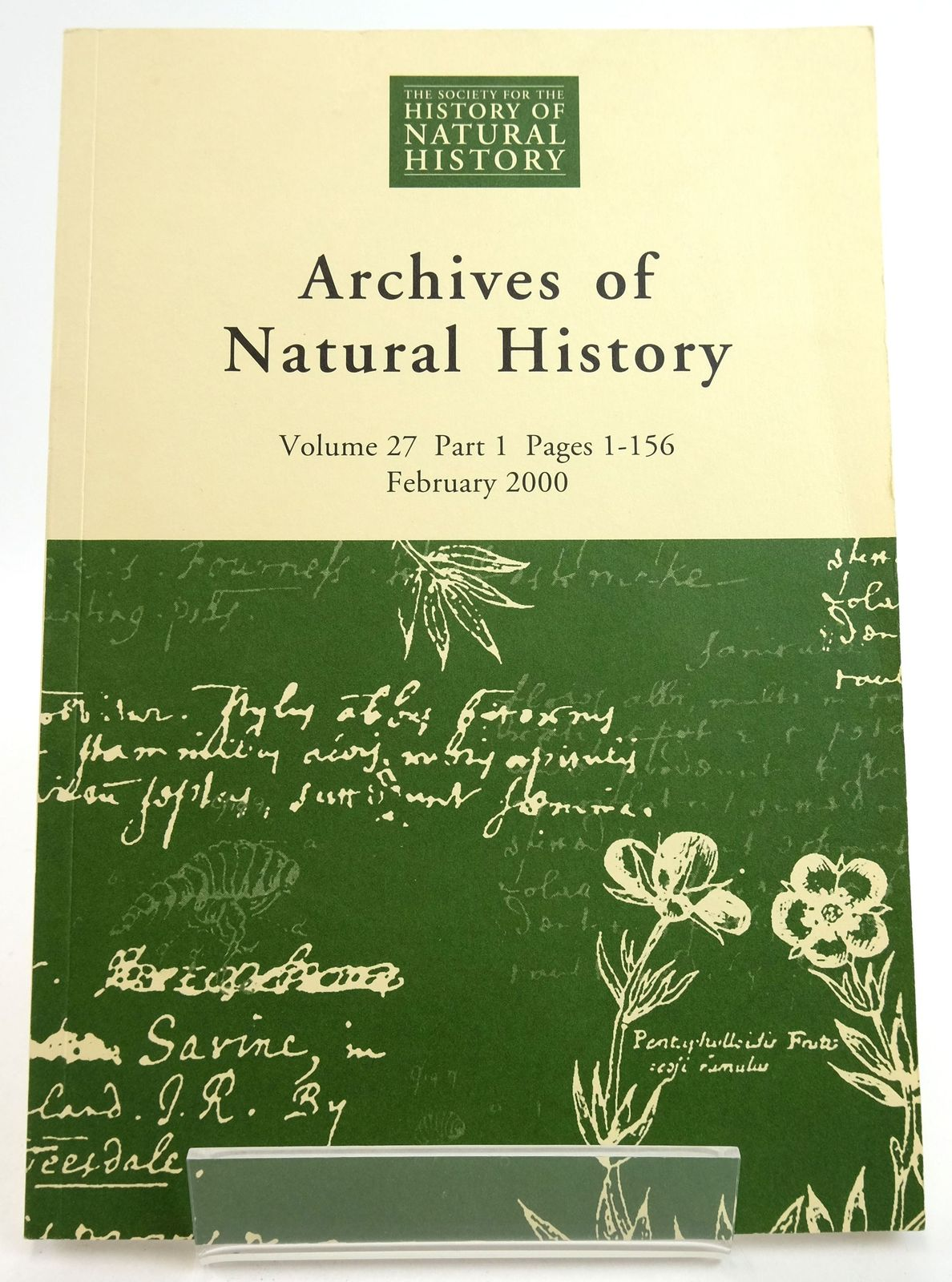 Photo of ARCHIVES OF NATURAL HISTORY VOLUME 27 2000- Stock Number: 1819476