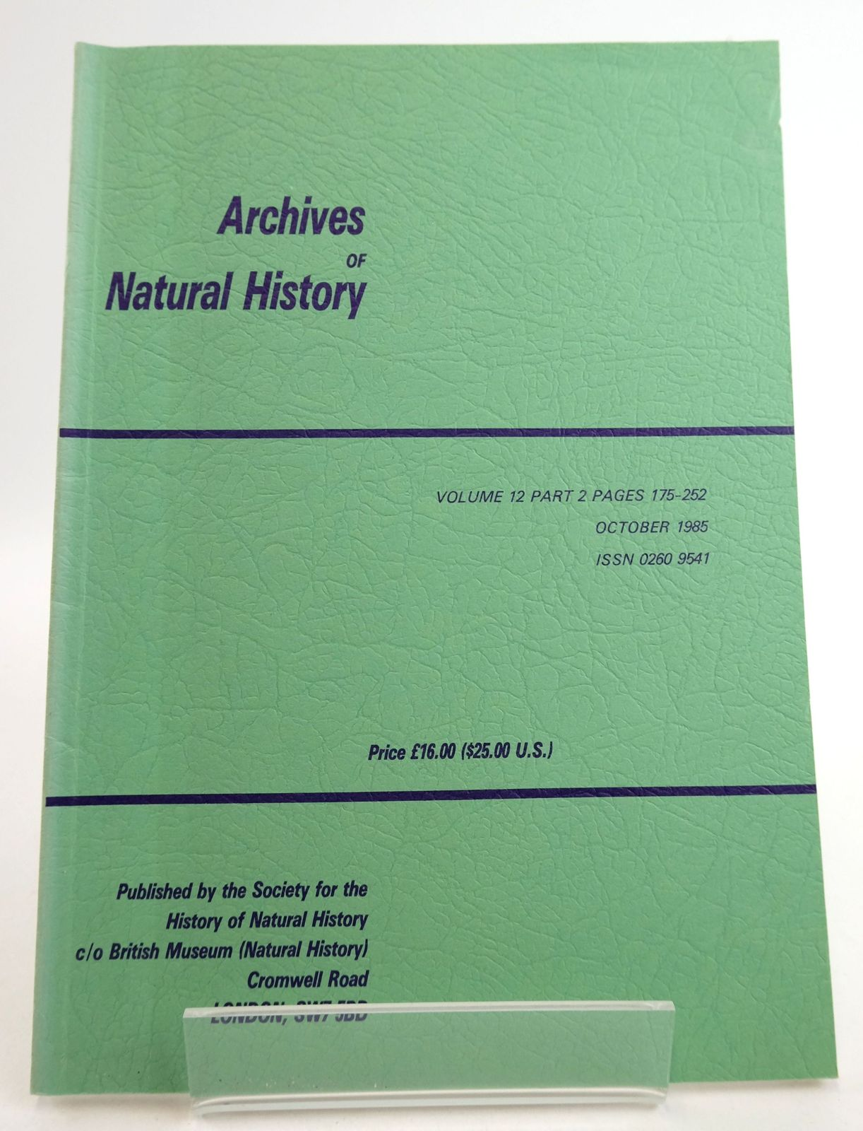 Photo of ARCHIVES OF NATURAL HISTORY VOLUME 12 PART 2- Stock Number: 1819477