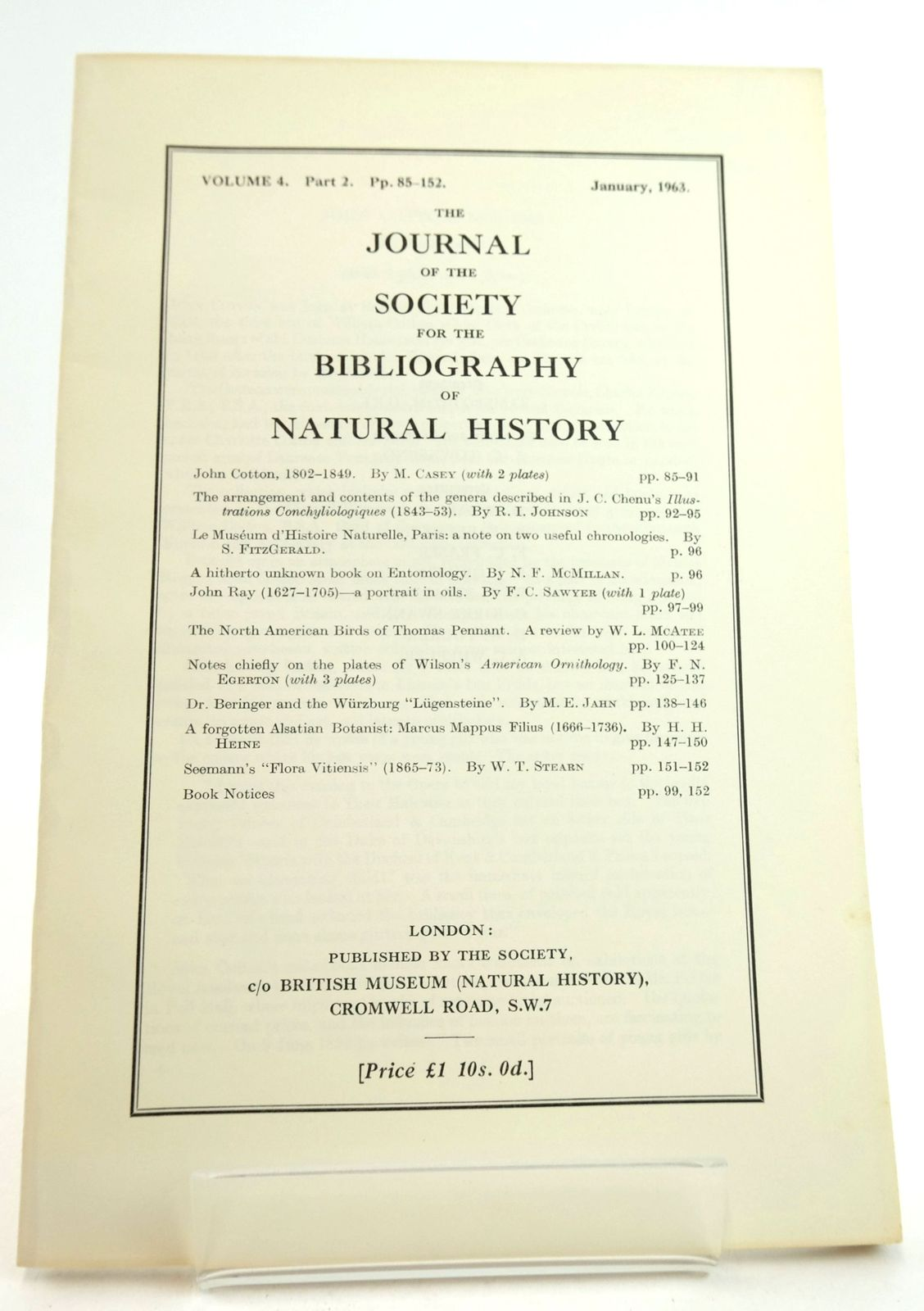 Photo of THE JOURNAL OF THE SOCIETY FOR THE BIBLIOGRAPHY OF NATURAL HISTORY VOLUME 4 PART 2- Stock Number: 1819479