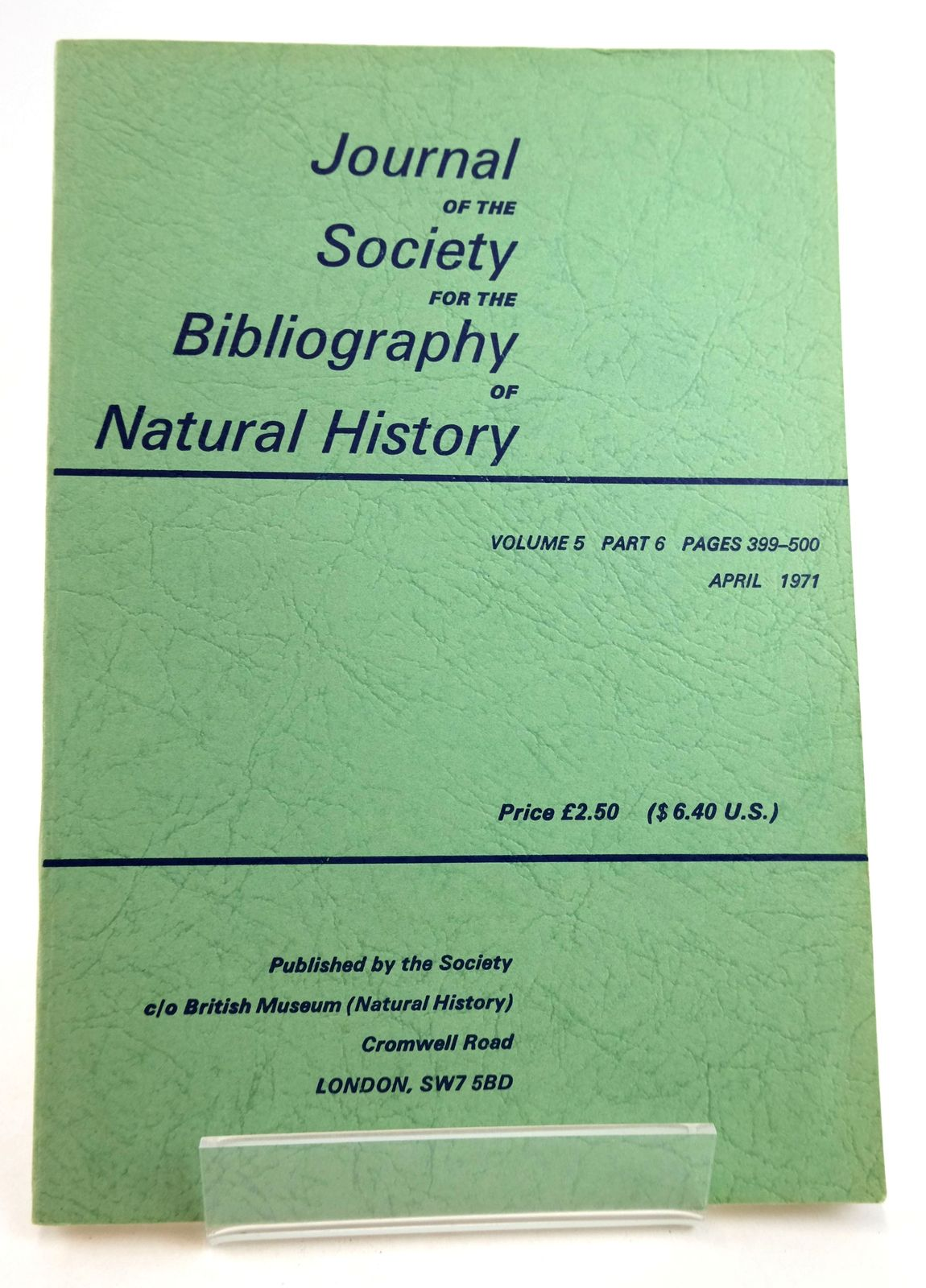 Photo of THE JOURNAL OF THE SOCIETY FOR THE BIBLIOGRAPHY OF NATURAL HISTORY VOLUME 5 PART 6 published by Society For The Bibliography Of Natural History (STOCK CODE: 1819481)  for sale by Stella & Rose's Books