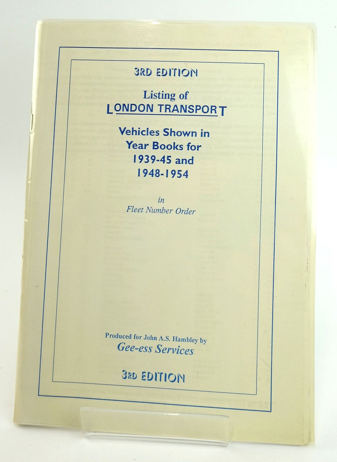 Photo of LONDON TRANSPORT YEARBOOK LISTING 1939-45 AND 1948-1954- Stock Number: 1820032