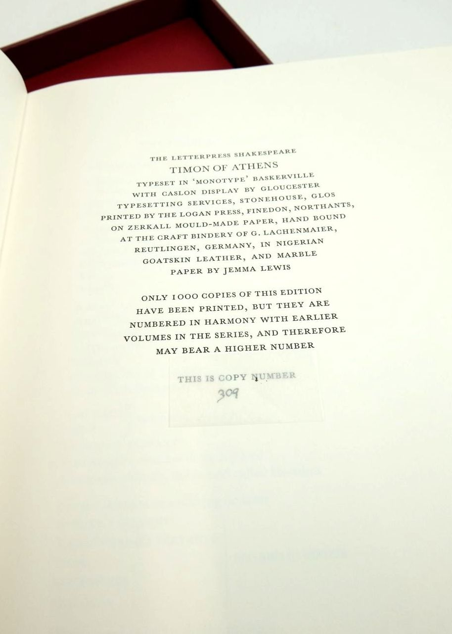 Photo of TIMON OF ATHENS (THE LETTERPRESS SHAKESPEARE) written by Shakespeare, William Jowett, John published by Folio Society (STOCK CODE: 1821431)  for sale by Stella & Rose's Books