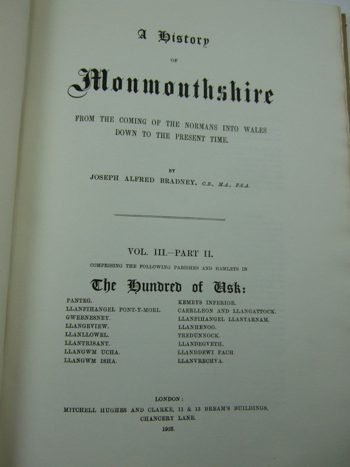 Photo of A HISTORY OF MONMOUTHSHIRE THE HUNDRED OF USK (VOLUME III, PART II) written by Bradney, Joseph published by Mitchell Hughes and Clarke (STOCK CODE: 2109436)  for sale by Stella & Rose's Books