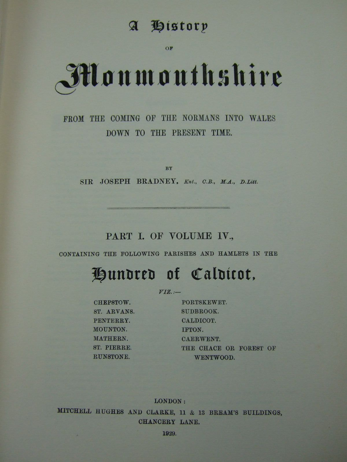 Photo of A HISTORY OF MONMOUTHSHIRE HUNDRED OF CALDICOT (PART I OF VOLUME IV) written by Bradney, Joseph published by Mitchell Hughes and Clarke (STOCK CODE: 2109437)  for sale by Stella & Rose's Books