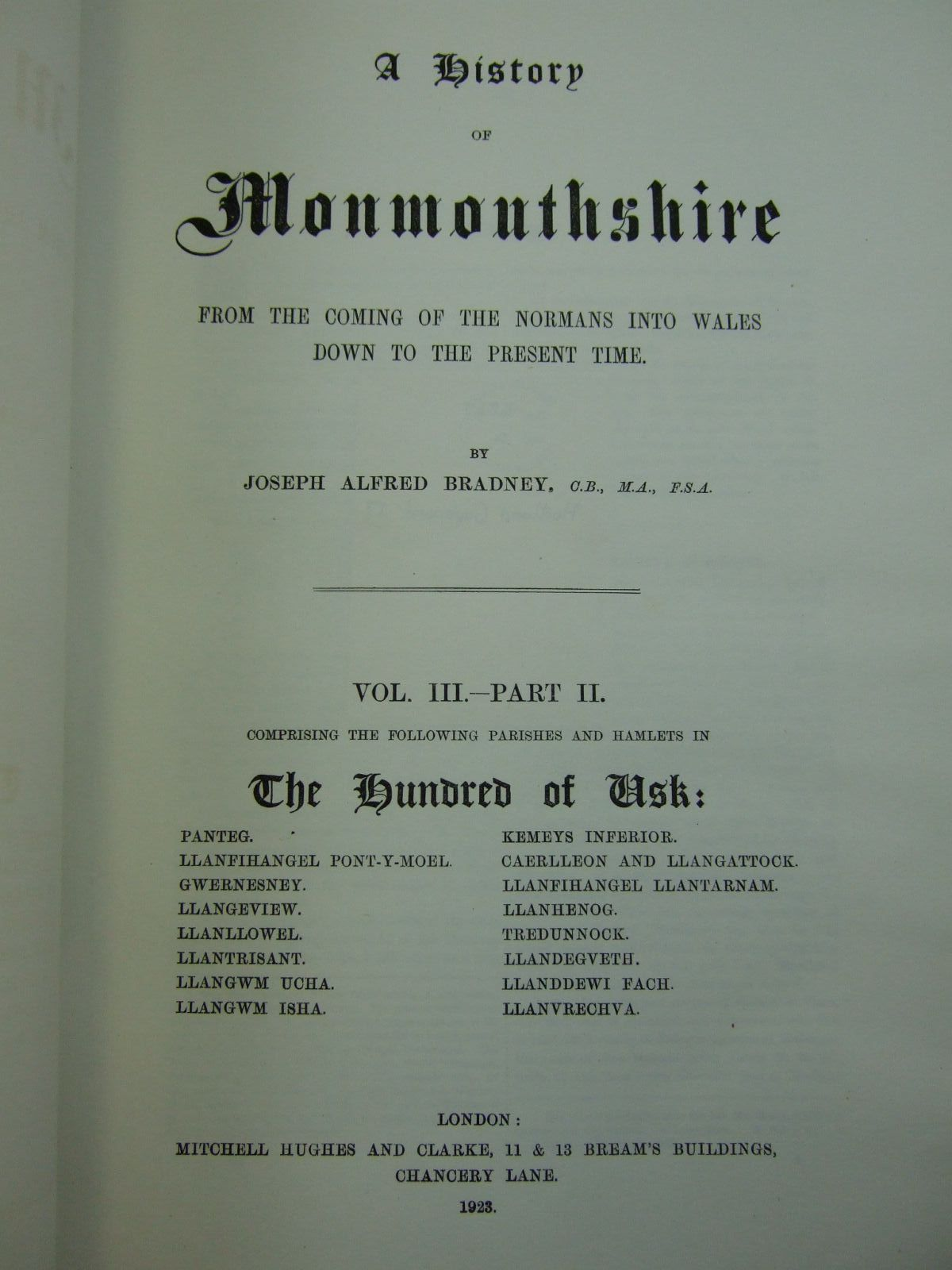 Photo of A HISTORY OF MONMOUTHSHIRE THE HUNDRED OF USK written by Bradney, Joseph published by Mitchell Hughes and Clarke (STOCK CODE: 2109439)  for sale by Stella & Rose's Books