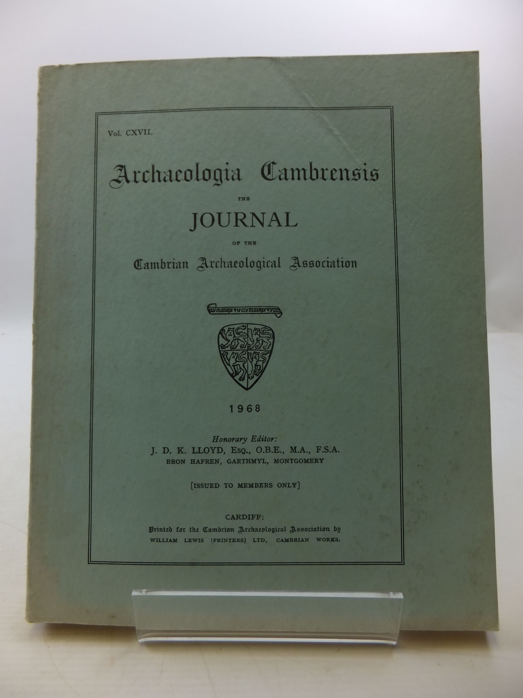 Photo of ARCHAEOLOGIA CAMBRENSIS VOL CXVII- Stock Number: 2110466