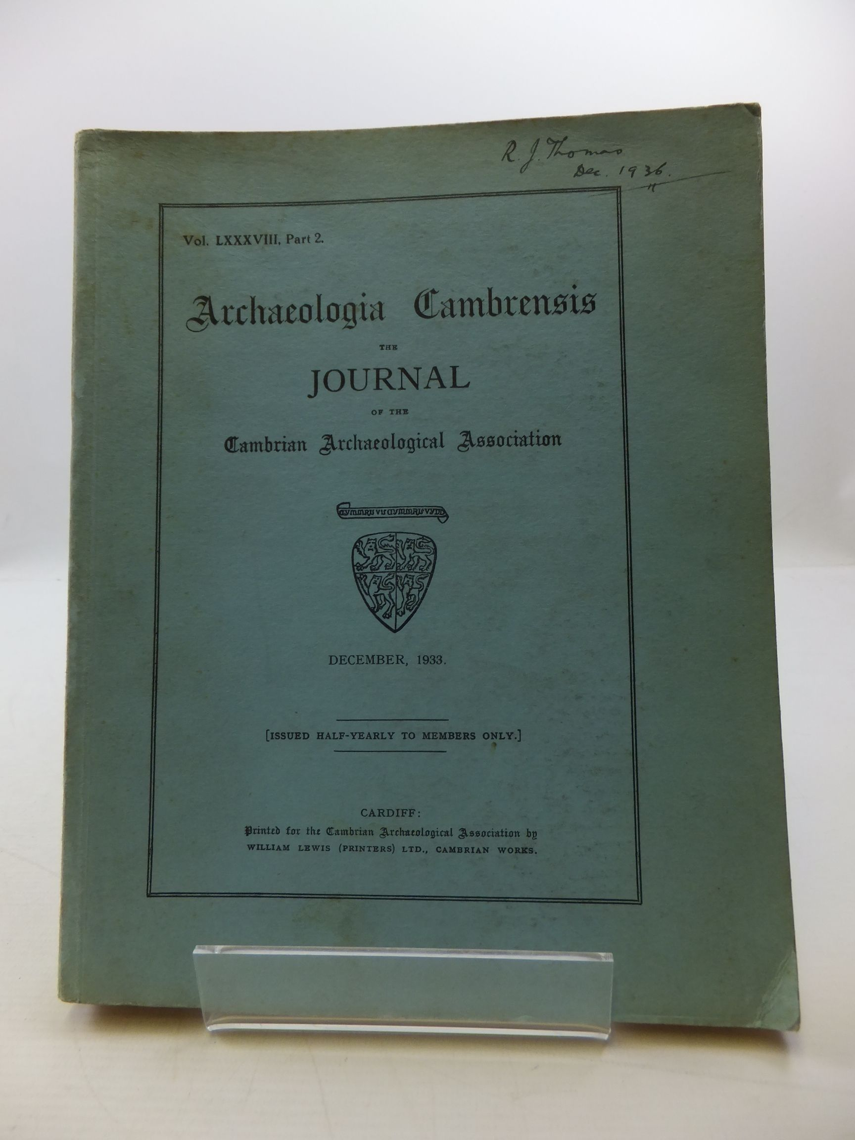 Photo of ARCHAEOLOGIA CAMBRENSIS VOL LXXXVIII PART 2 published by Cambrian Archaeological Association (STOCK CODE: 2110468)  for sale by Stella & Rose's Books