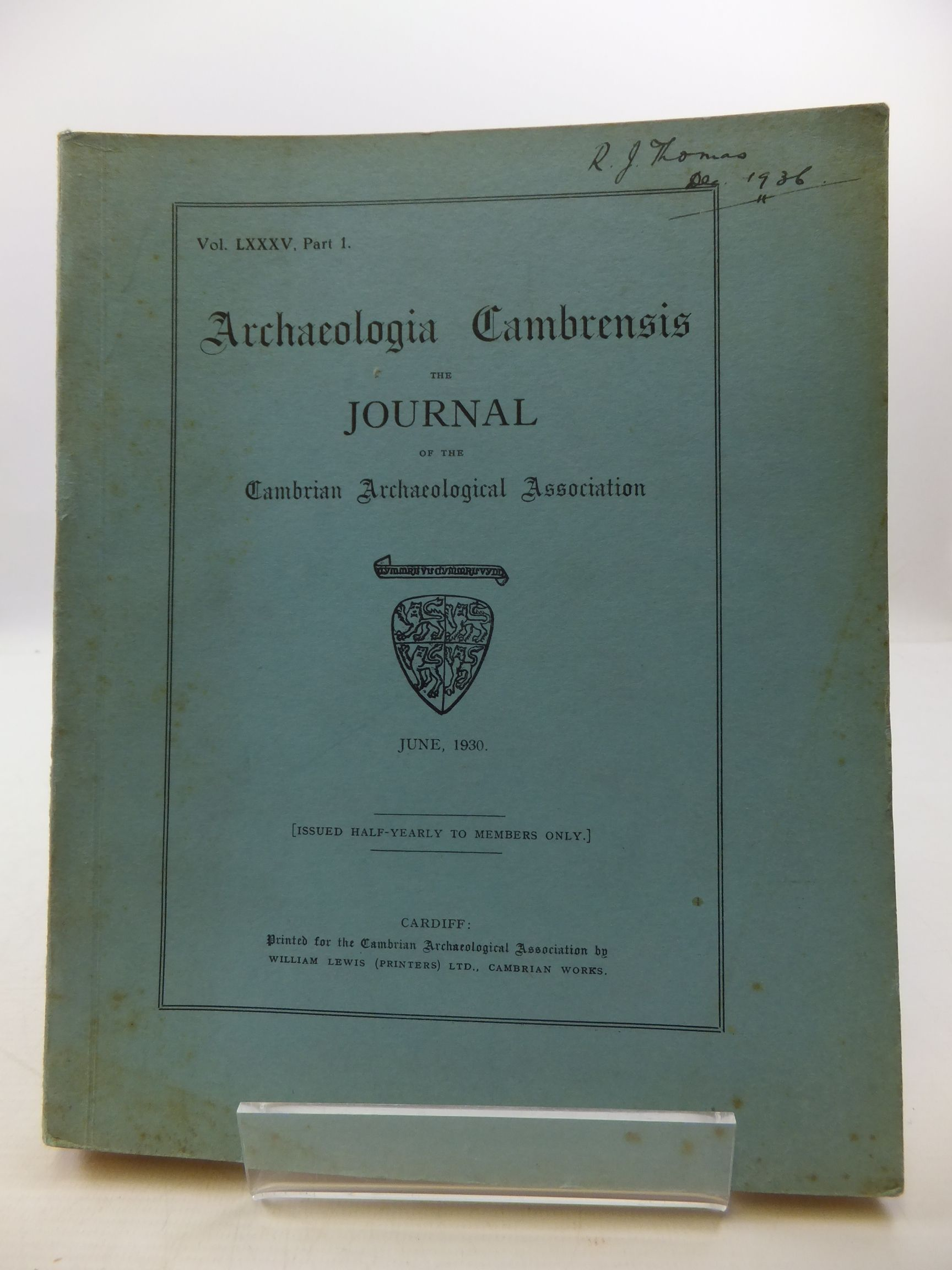 Photo of ARCHAEOLOGIA CAMBRENSIS VOL LXXXV PART 1 published by Cambrian Archaeological Association (STOCK CODE: 2110469)  for sale by Stella & Rose's Books