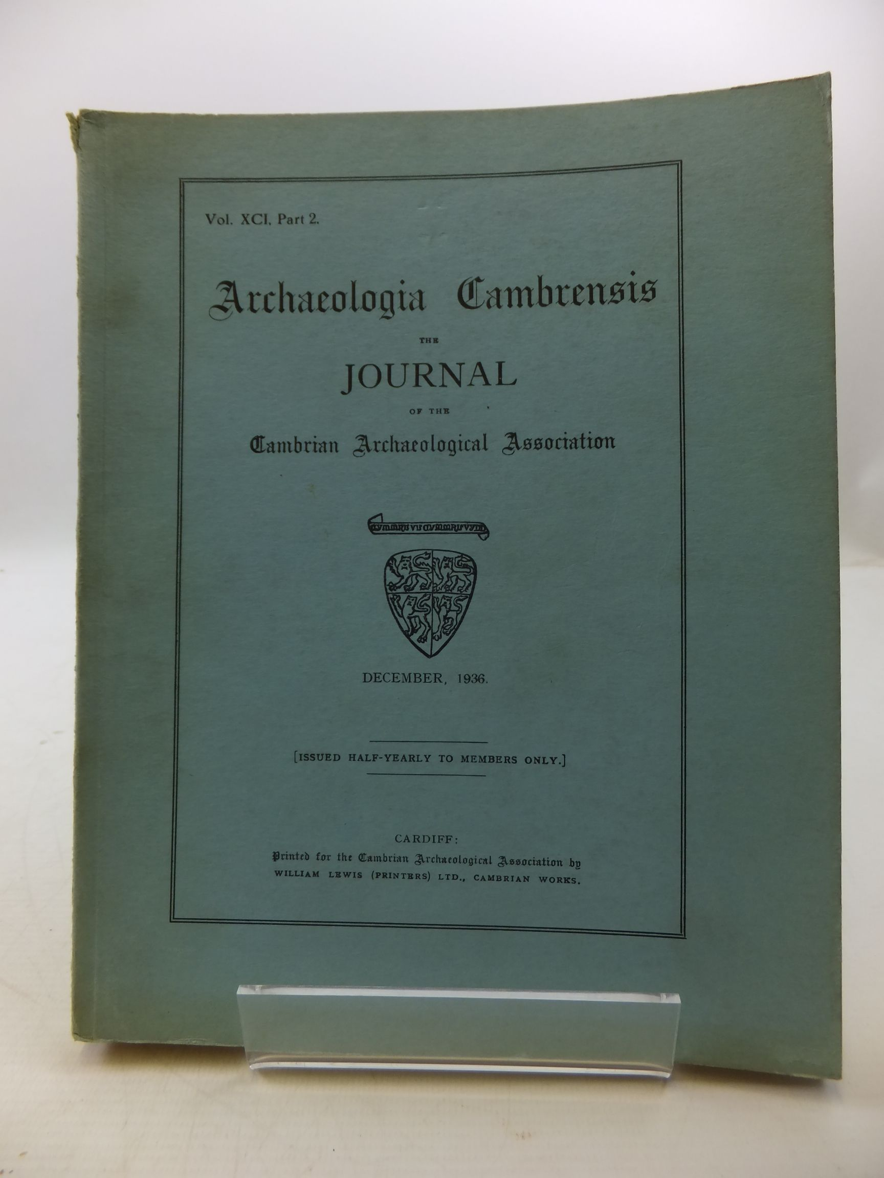 Photo of ARCHAEOLOGIA CAMBRENSIS VOL XCI PART 2- Stock Number: 2110476