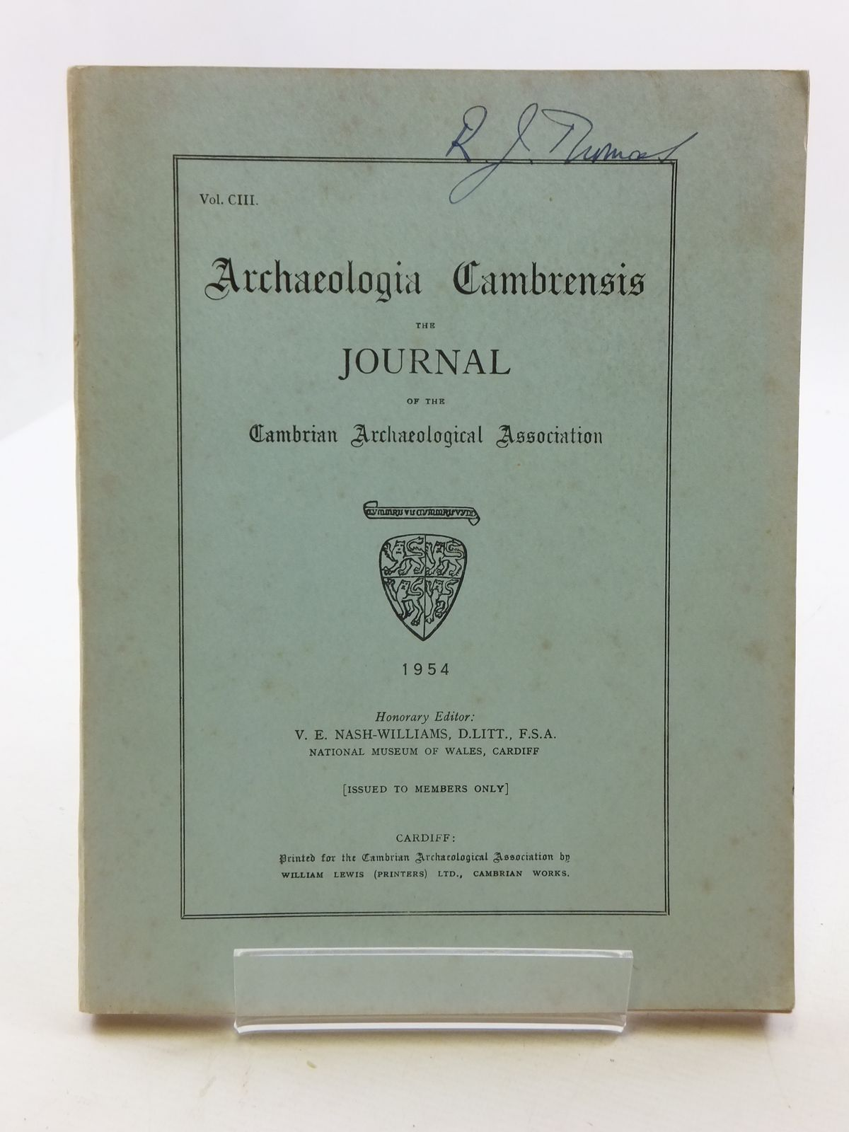Photo of ARCHAEOLOGIA CAMBRENSIS VOL CIII published by Cambrian Archaeological Association (STOCK CODE: 2110615)  for sale by Stella & Rose's Books