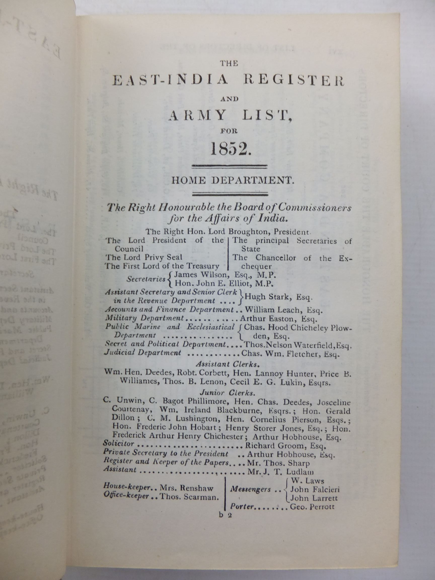 Photo of THE EAST-INDIA REGISTER AND ARMY LIST FOR 1852 written by Clark, F. published by Wm. H. Allen & Co. (STOCK CODE: 2111570)  for sale by Stella & Rose's Books