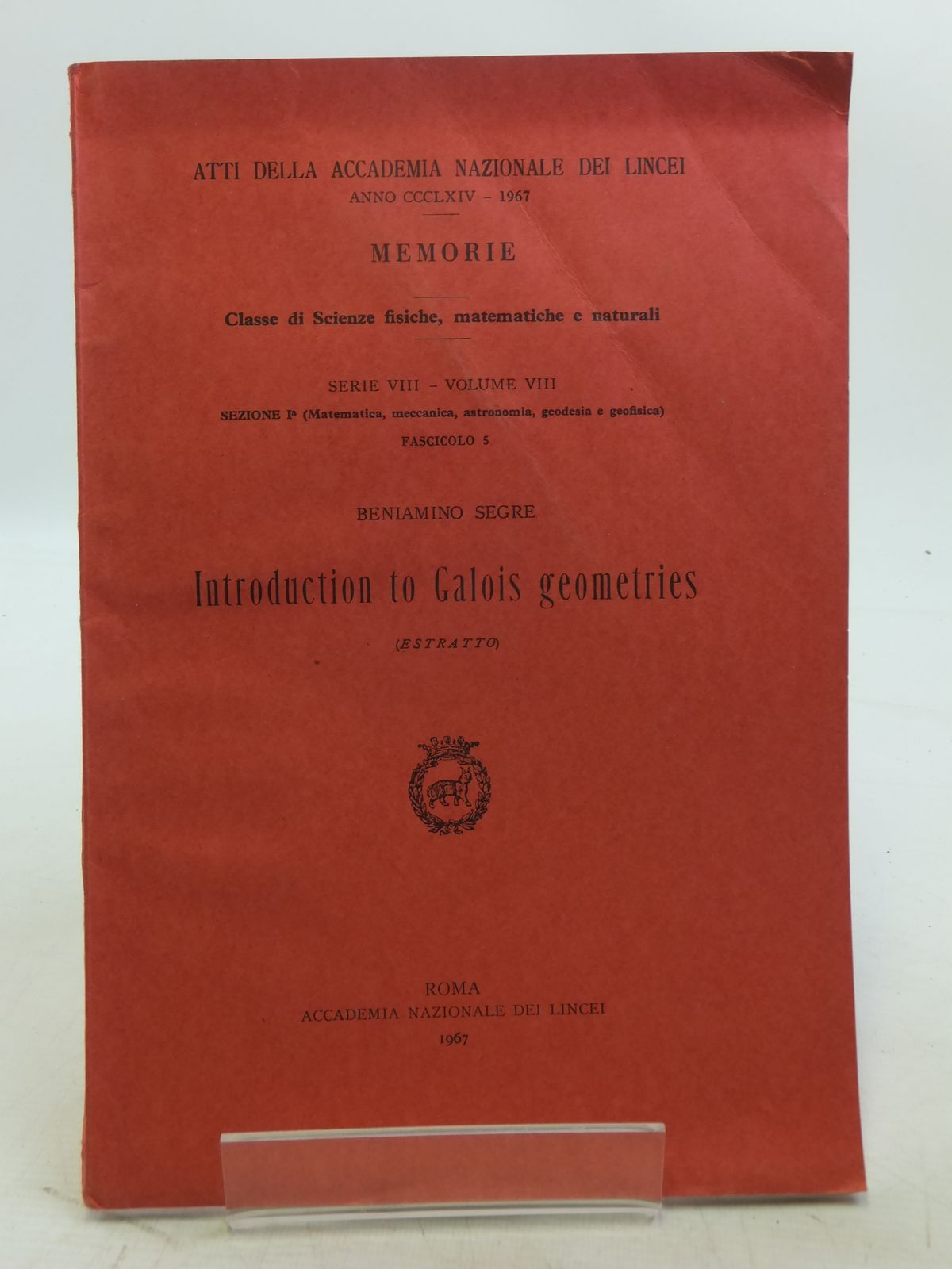 Photo of INTRODUCTION TO GALOIS GEOMETRIES- Stock Number: 2119051