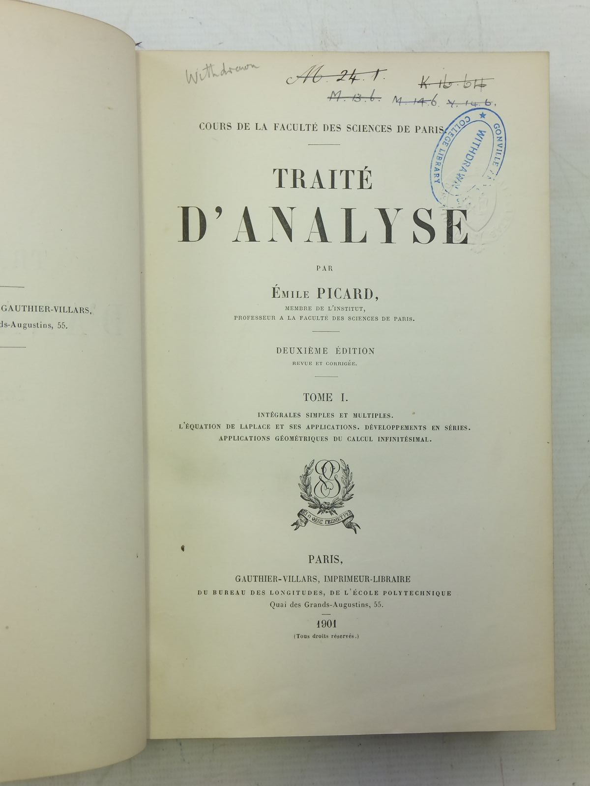 Photo of TRAITE D'ANALYSE TOME I written by Picard, Emile published by Gauthier-Villars (STOCK CODE: 2120003)  for sale by Stella & Rose's Books