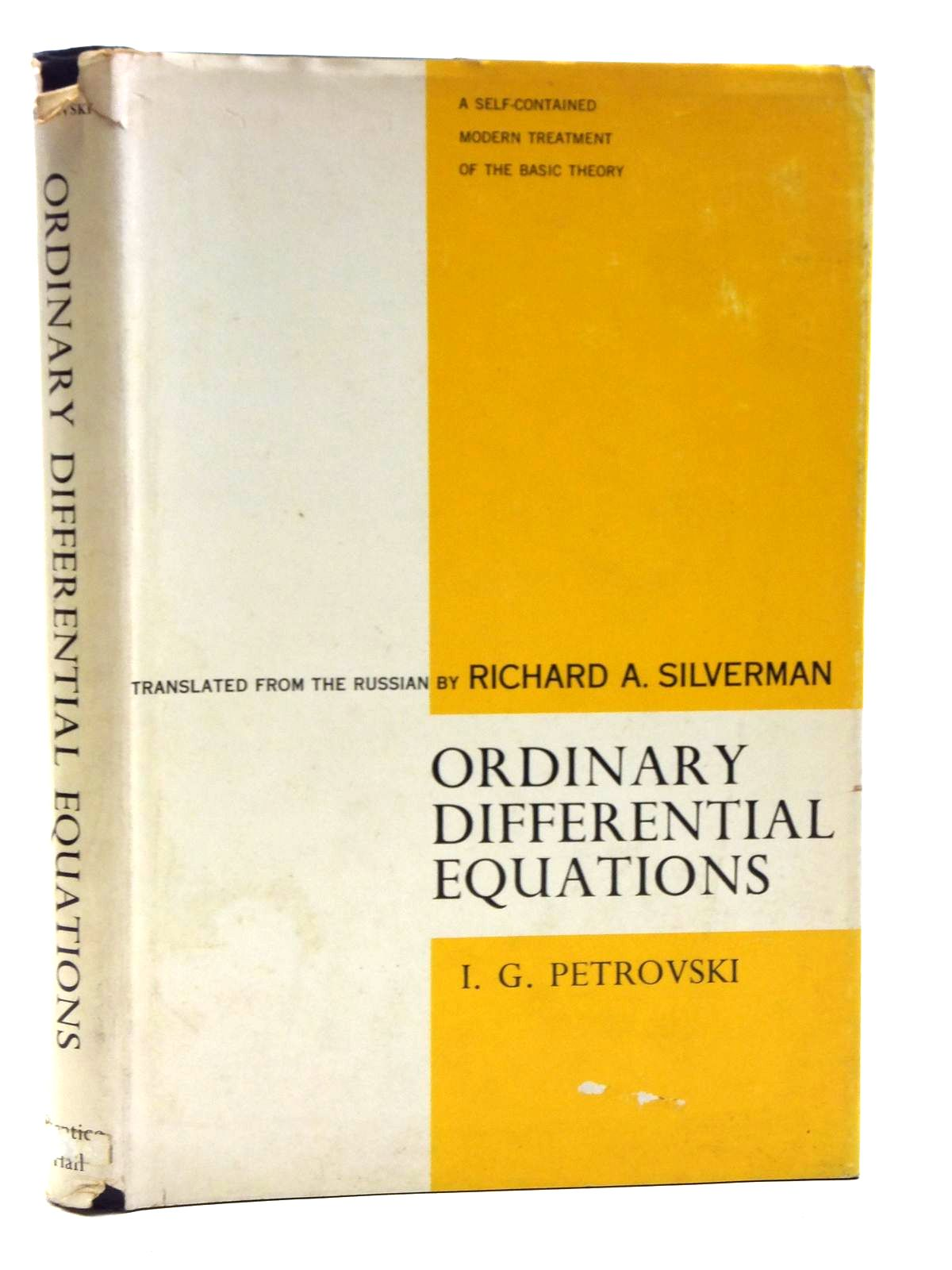 Photo of ORDINARY DIFFERENTIAL EQUATIONS written by Petrovski, I.G. Silverman, Richard A. published by Prentice-Hall Inc. (STOCK CODE: 2120490)  for sale by Stella & Rose's Books