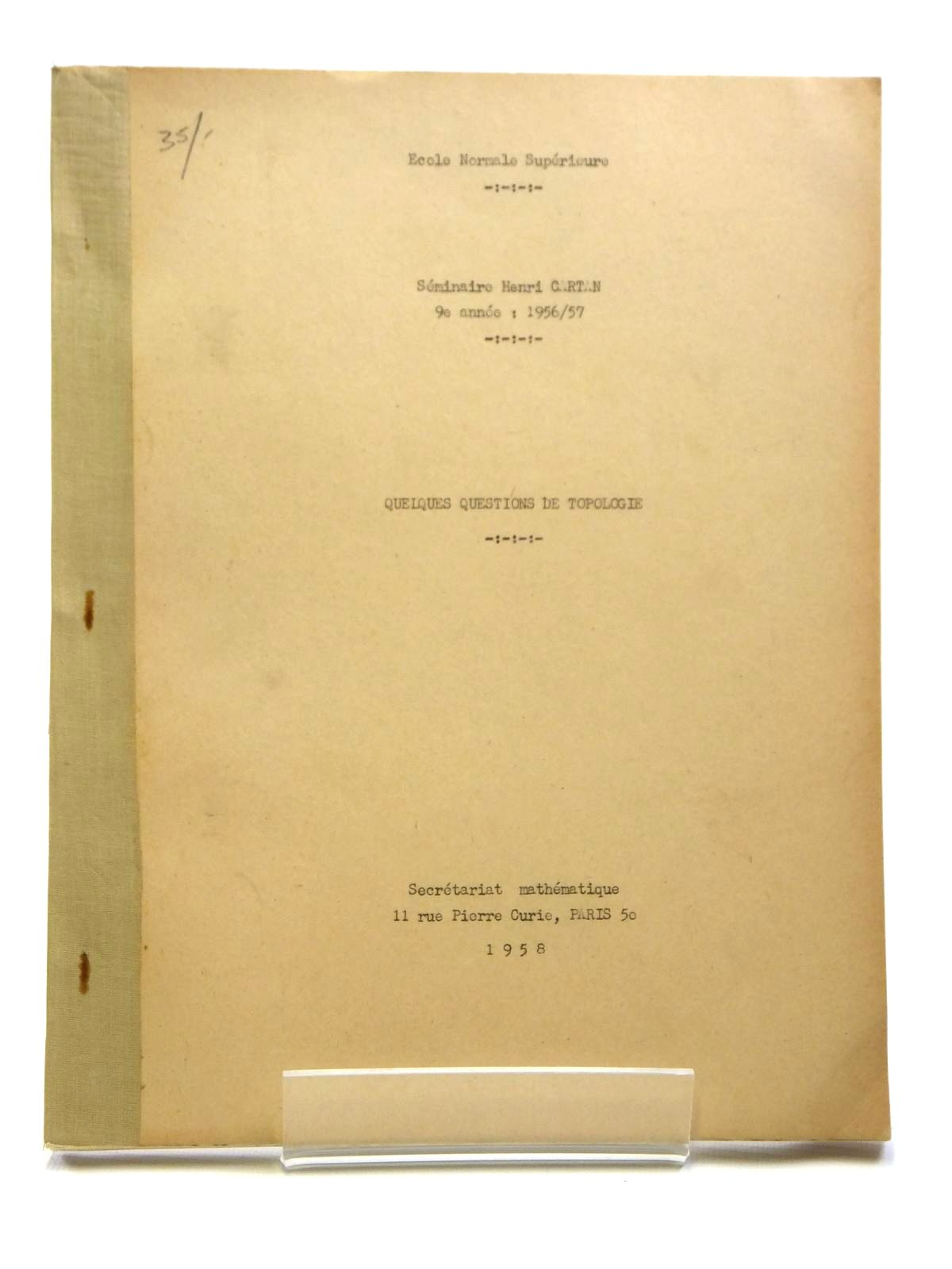 Photo of QUELQUES QUESTIONS DE TOPOLOGIE written by Cartan, Henri
