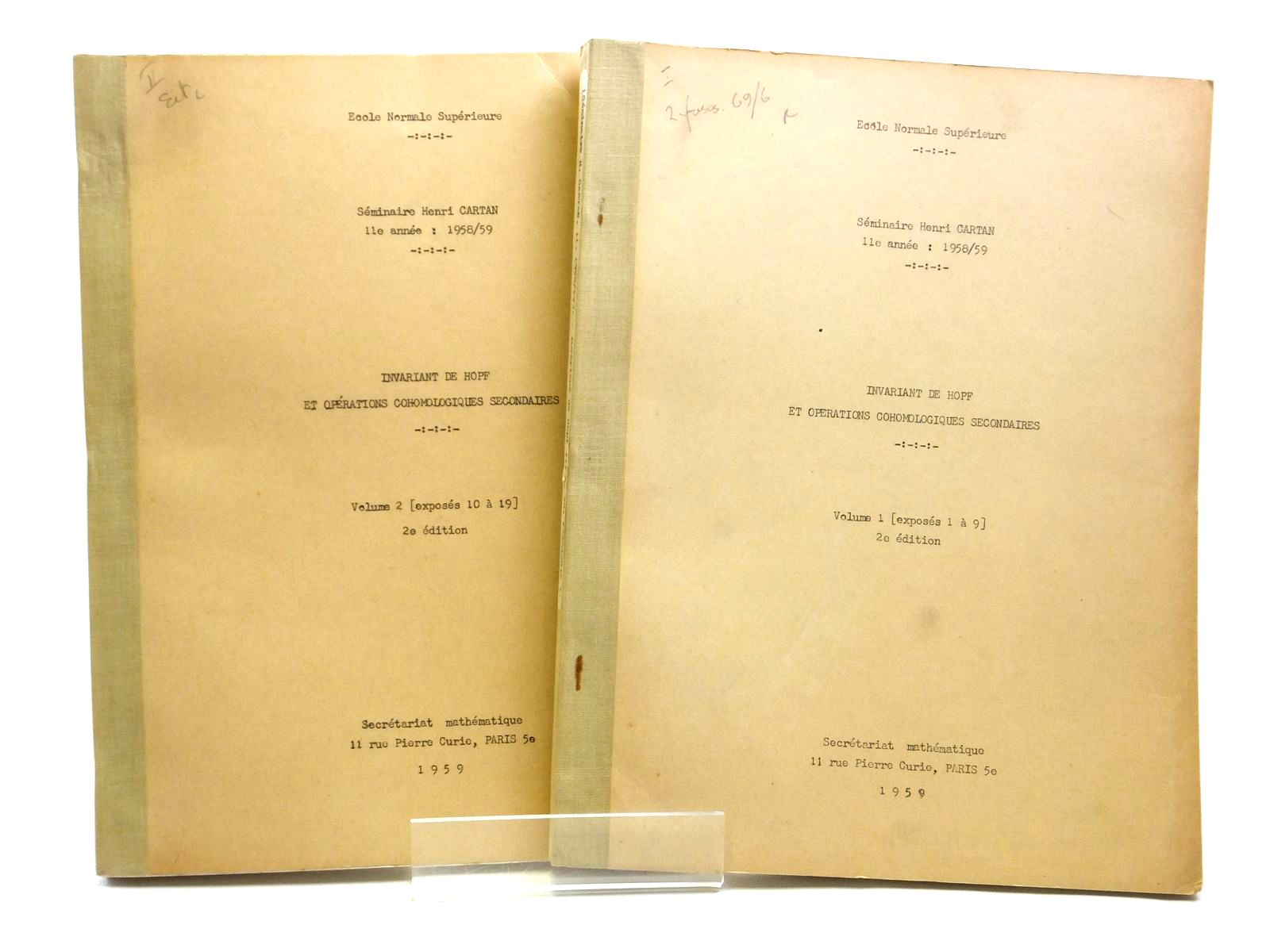 Photo of INVARIANT DE HOPF ET OPERATIONS COHOMOLOGIQUES SECONDAIRES (2 VOLUMES)- Stock Number: 2121037