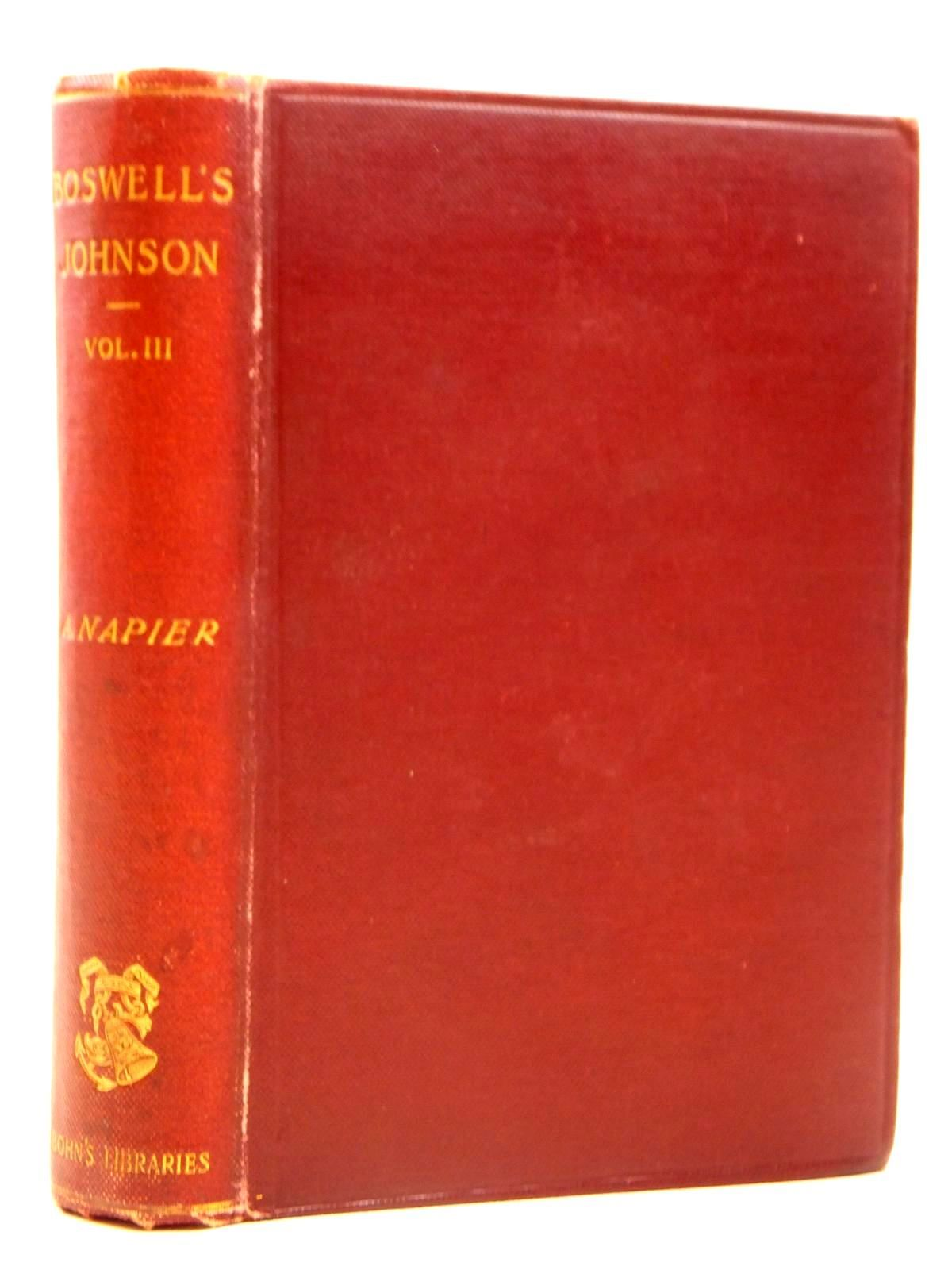 Photo of THE LIFE OF SAMUEL JOHNSON VOLUME III written by Boswell, James Napier, published by George Bell & Sons (STOCK CODE: 2121688)  for sale by Stella & Rose's Books