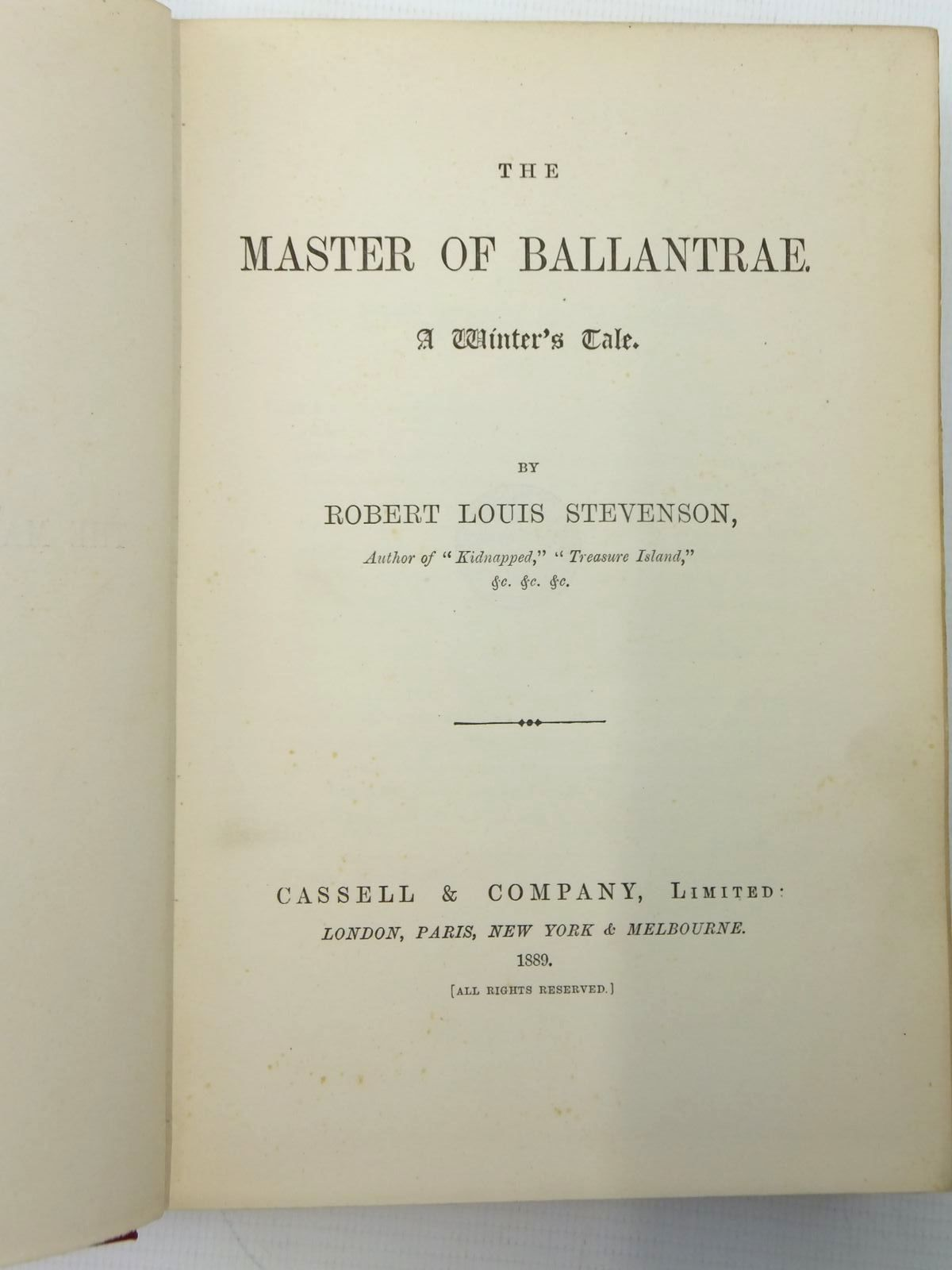 Photo of THE MASTER OF BALLANTRAE written by Stevenson, Robert Louis published by Cassell & Company Limited (STOCK CODE: 2123621)  for sale by Stella & Rose's Books