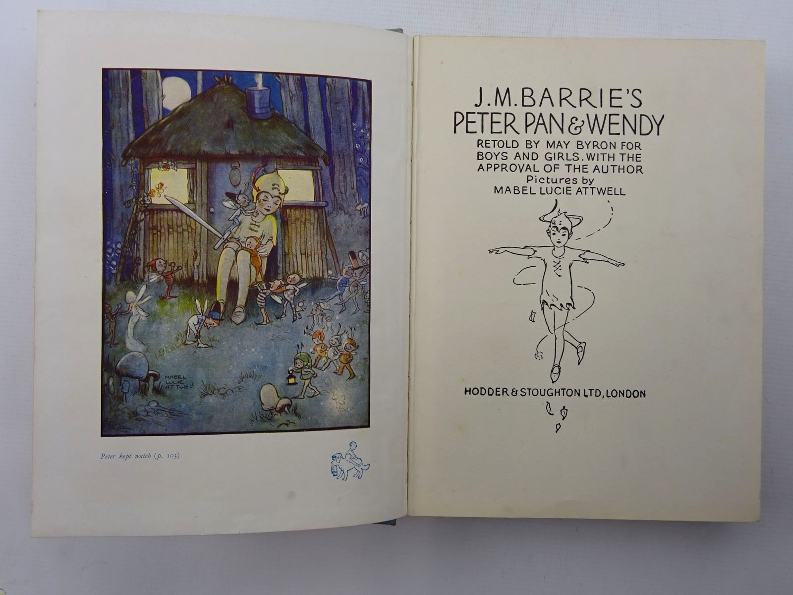 Photo of PETER PAN AND WENDY written by Barrie, J.M.<br />Byron, May illustrated by Attwell, Mabel Lucie published by Hodder &amp; Stoughton (STOCK CODE: 2124967)  for sale by Stella & Rose's Books
