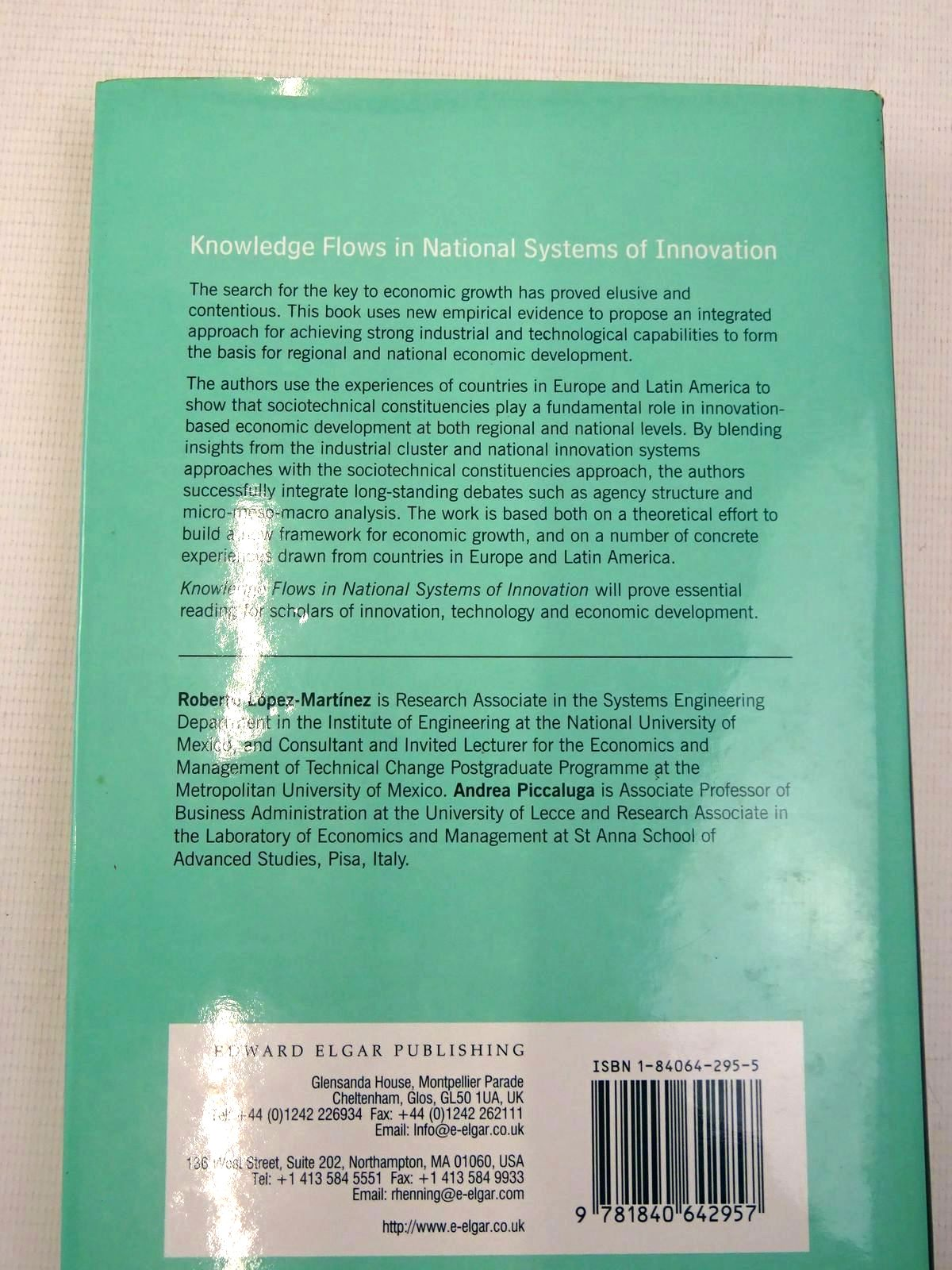 Photo of KNOWLEDGE FLOWS IN NATIONAL SYSTEMS OF INNOVATION written by Lopez-Martinez, Roberto E. Piccaluga, Andrea published by Edward Elgar (STOCK CODE: 2126320)  for sale by Stella & Rose's Books
