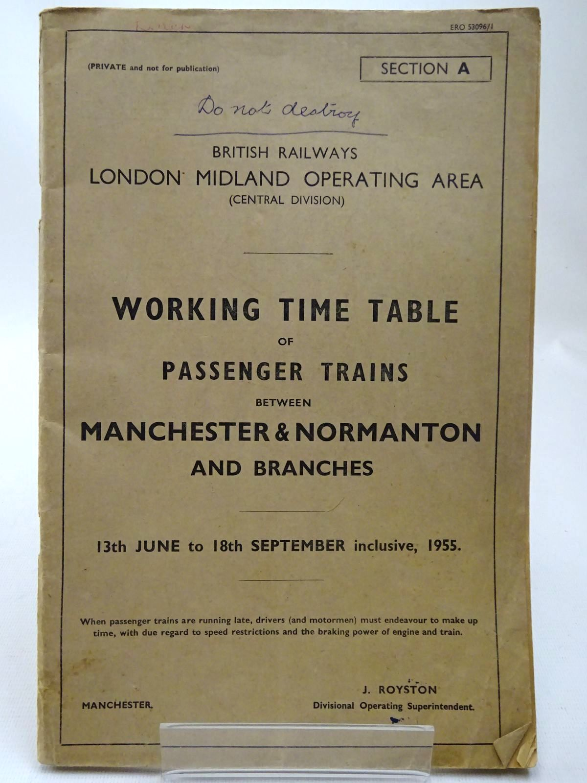 Photo of BRITISH RAILWAYS LONDON MIDLAND OPERATING AREA (CENTRAL DIVISION) WORKING TIME TABLE OF PASSENGER TRAINS BETWEEN MANCHESTER & NORMANTON AND BRANCHES- Stock Number: 2126803