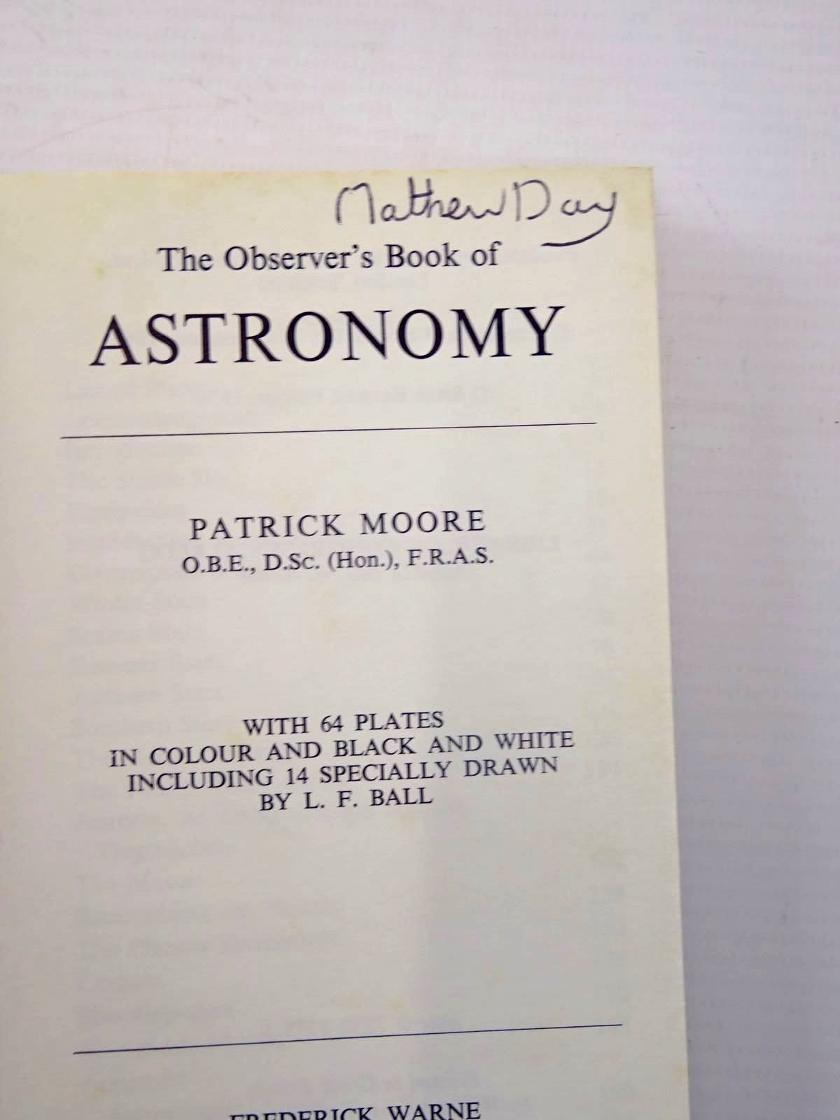 Photo of THE OBSERVER'S BOOK OF ASTRONOMY (CYANAMID WRAPPER) written by Moore, Patrick illustrated by Ball, L.F. published by Frederick Warne & Co Ltd. (STOCK CODE: 2130455)  for sale by Stella & Rose's Books