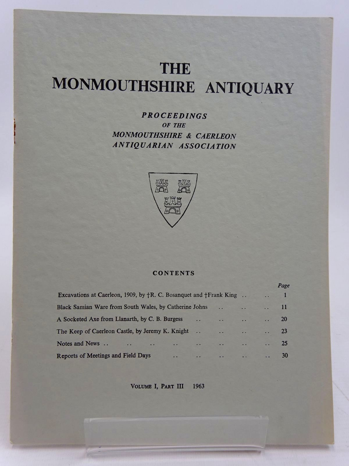 Photo of THE MONMOUTHSHIRE ANTIQUARY VOLUME 1 PART 3 written by Bosanquet, R.C. et al,  published by Monmouthshire Antiquarian Association (STOCK CODE: 2130962)  for sale by Stella & Rose's Books