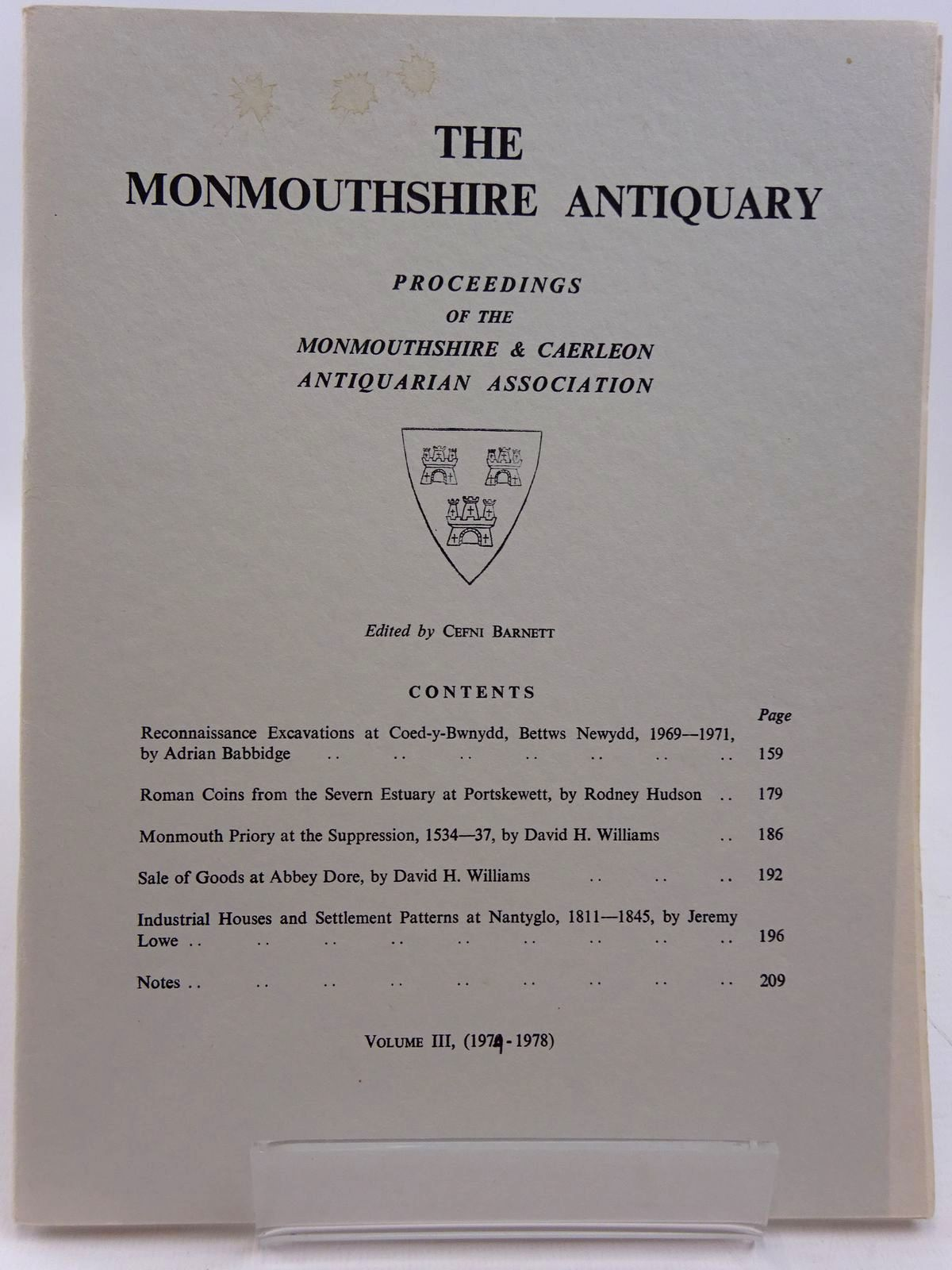 Photo of THE MONMOUTHSHIRE ANTIQUARY VOLUME III PARTS 3 & 4 written by Barnett, Cefni published by Monmouthshire & Caerleon Antiquarian Association (STOCK CODE: 2130964)  for sale by Stella & Rose's Books