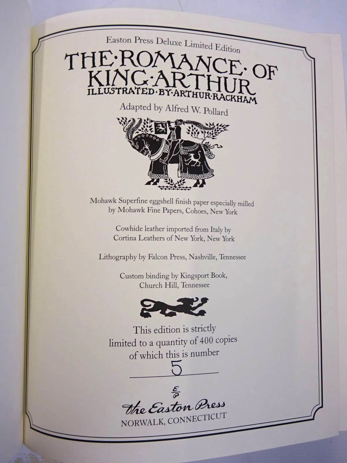 Photo of THE ROMANCE OF KING ARTHUR AND HIS KNIGHTS OF THE ROUND TABLE written by Pollard, Alfred W. D'Arthur Malory's Morte,  illustrated by Rackham, Arthur published by Easton Press (STOCK CODE: 2131378)  for sale by Stella & Rose's Books