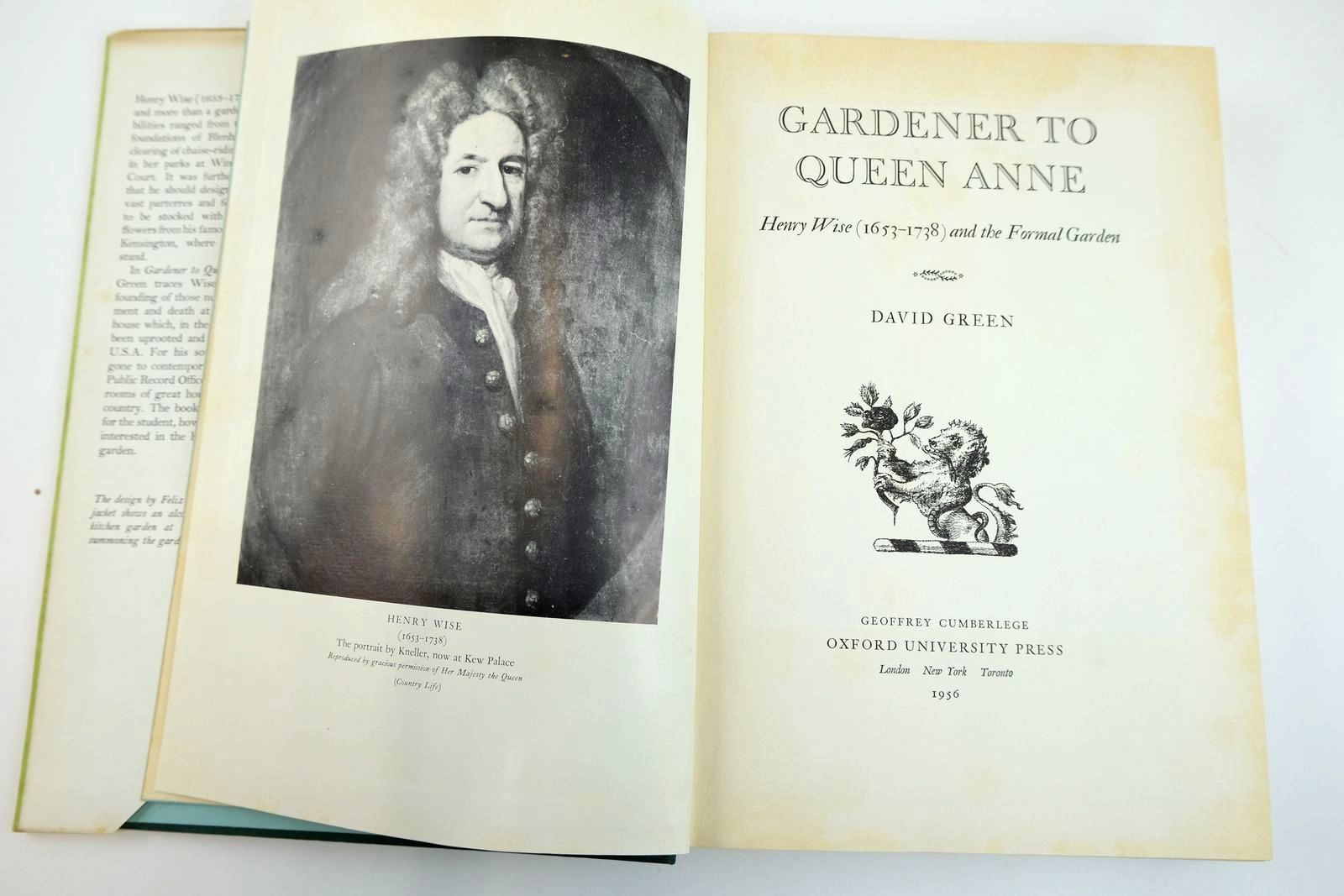 Photo of GARDENER TO QUEEN ANNE HENRY WISE (1653-1738) AND THE FORMAL GARDEN written by Green, David published by Oxford University Press, Geoffrey Cumberlege (STOCK CODE: 2132201)  for sale by Stella & Rose's Books