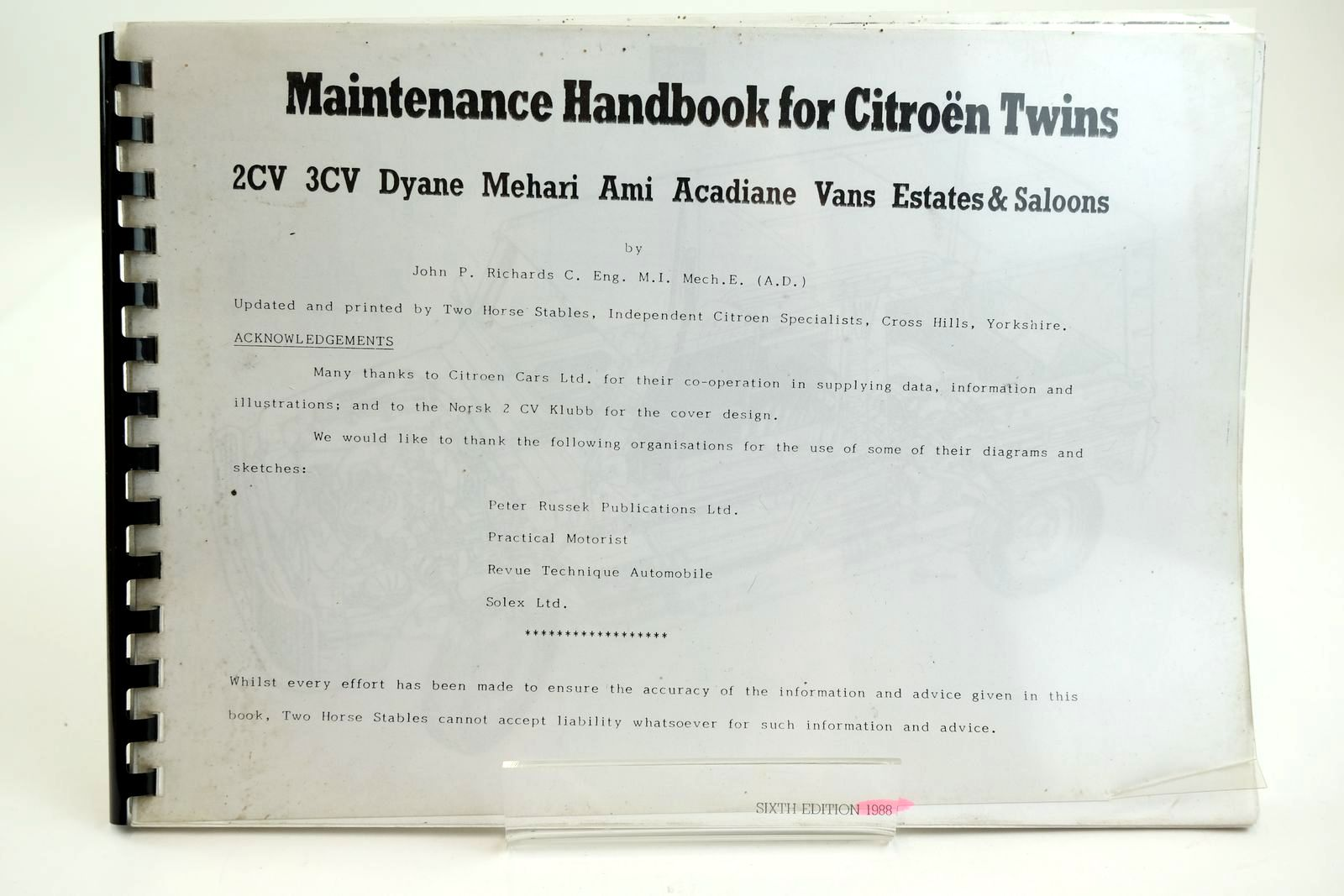 Photo of MAINTENANCE HANDBOOK FOR CITROEN TWINS 2CV 3CV DYANE MEHARI AMI ACADIANE VANS ESTATES & SALOONS- Stock Number: 2132265